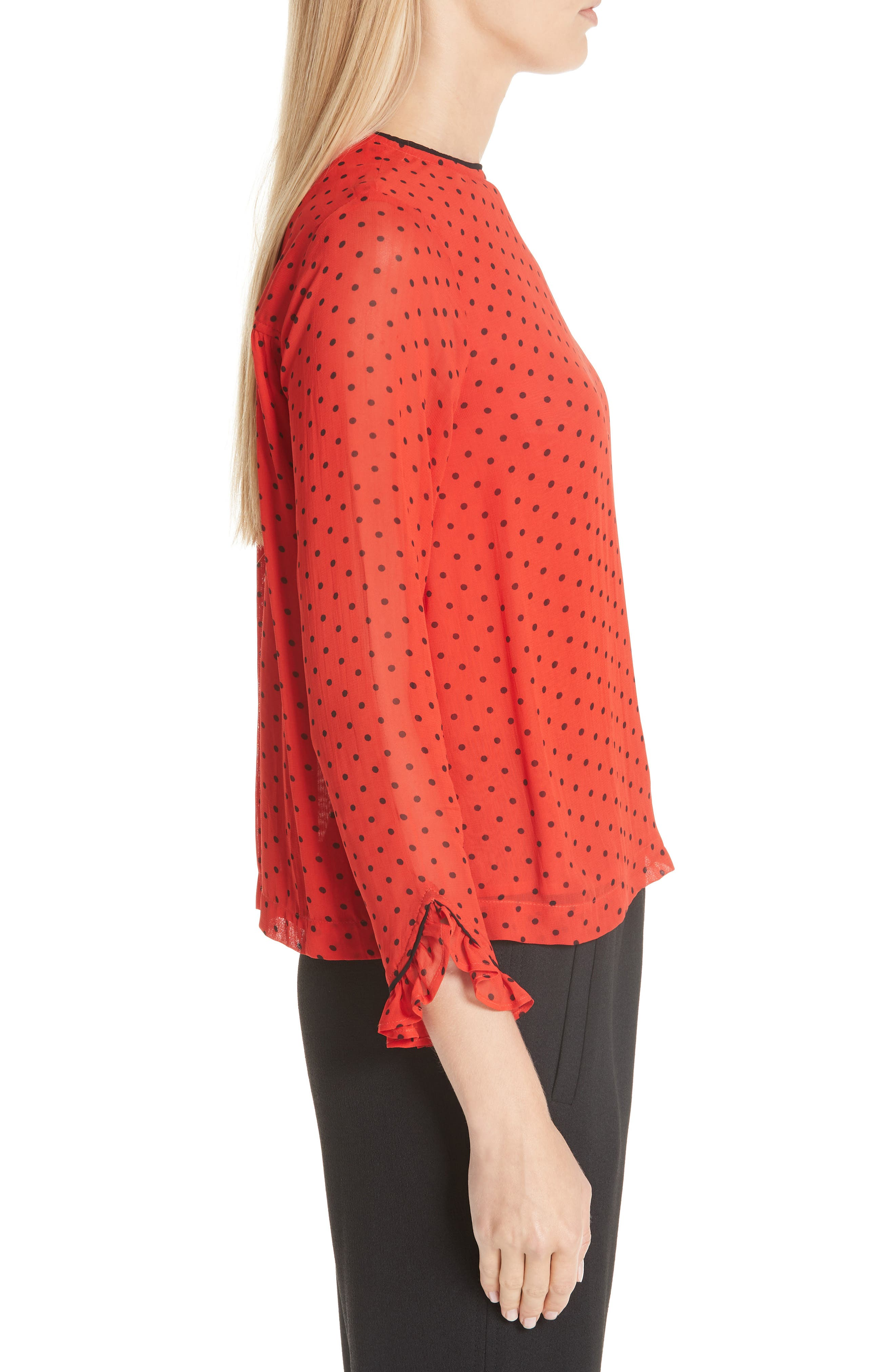 Mullin Print Georgette Blouse,                             Alternate thumbnail 3, color,                             FIERY RED 403