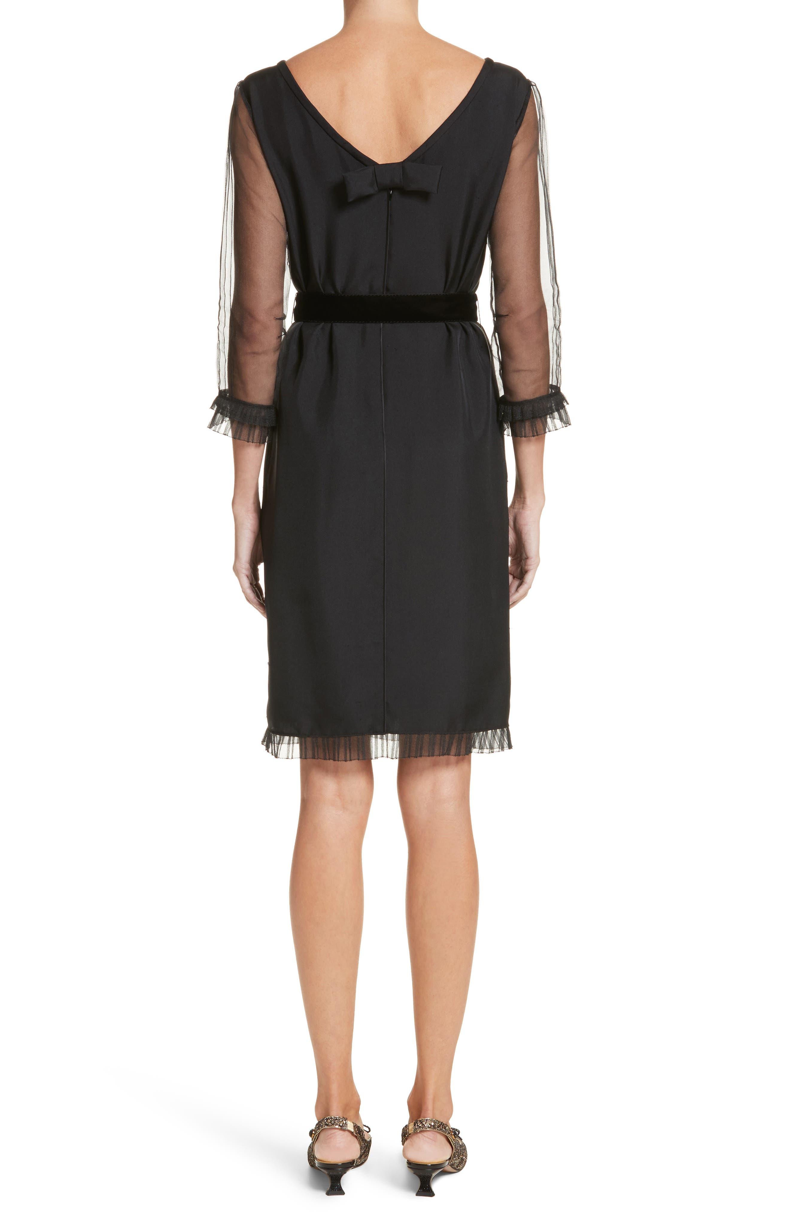 Silk Tulle Ruffle Dress,                             Alternate thumbnail 2, color,                             001