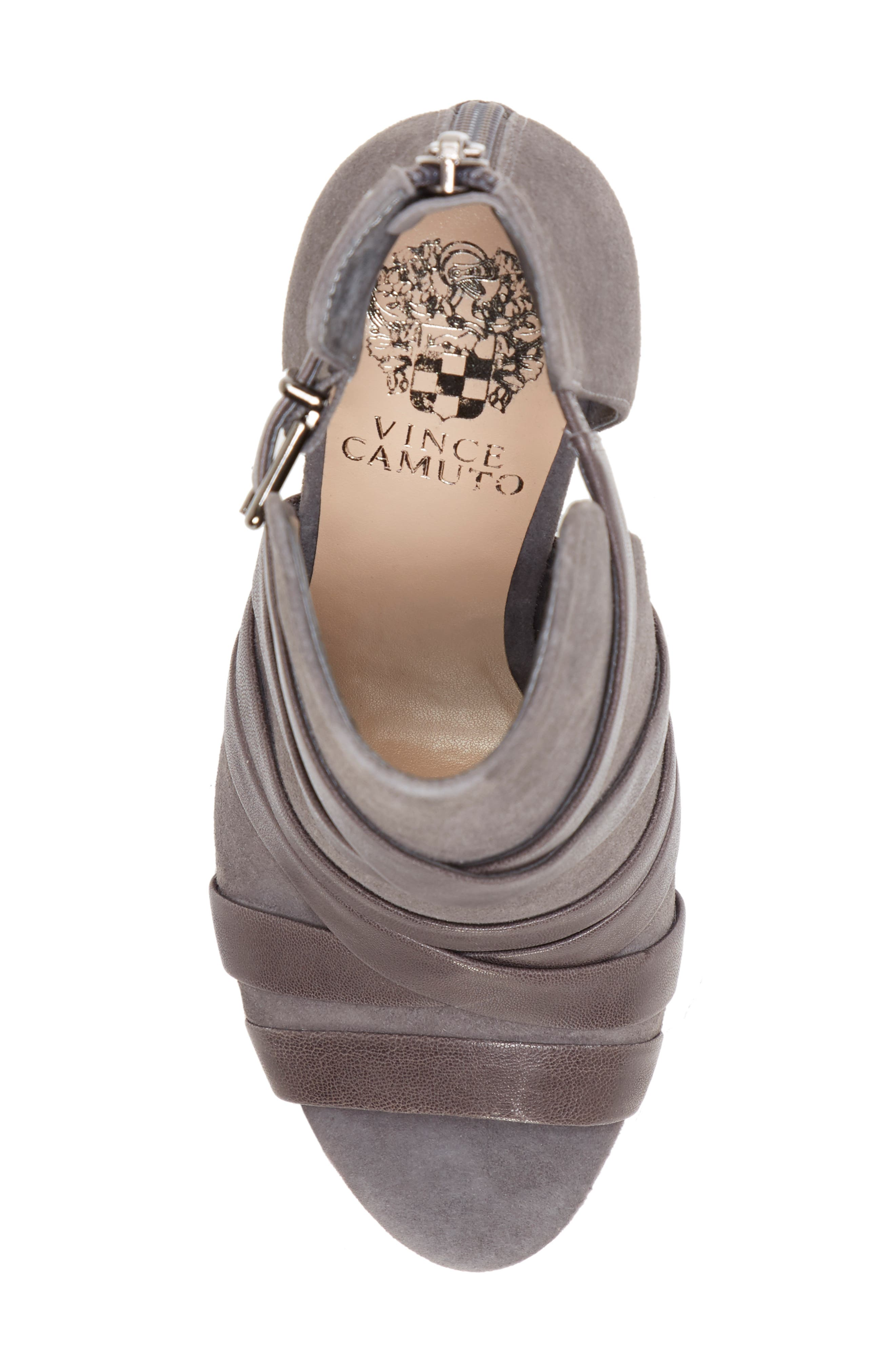 Achika Belted Peep Toe Bootie,                             Alternate thumbnail 5, color,                             POWER GREY LEATHER