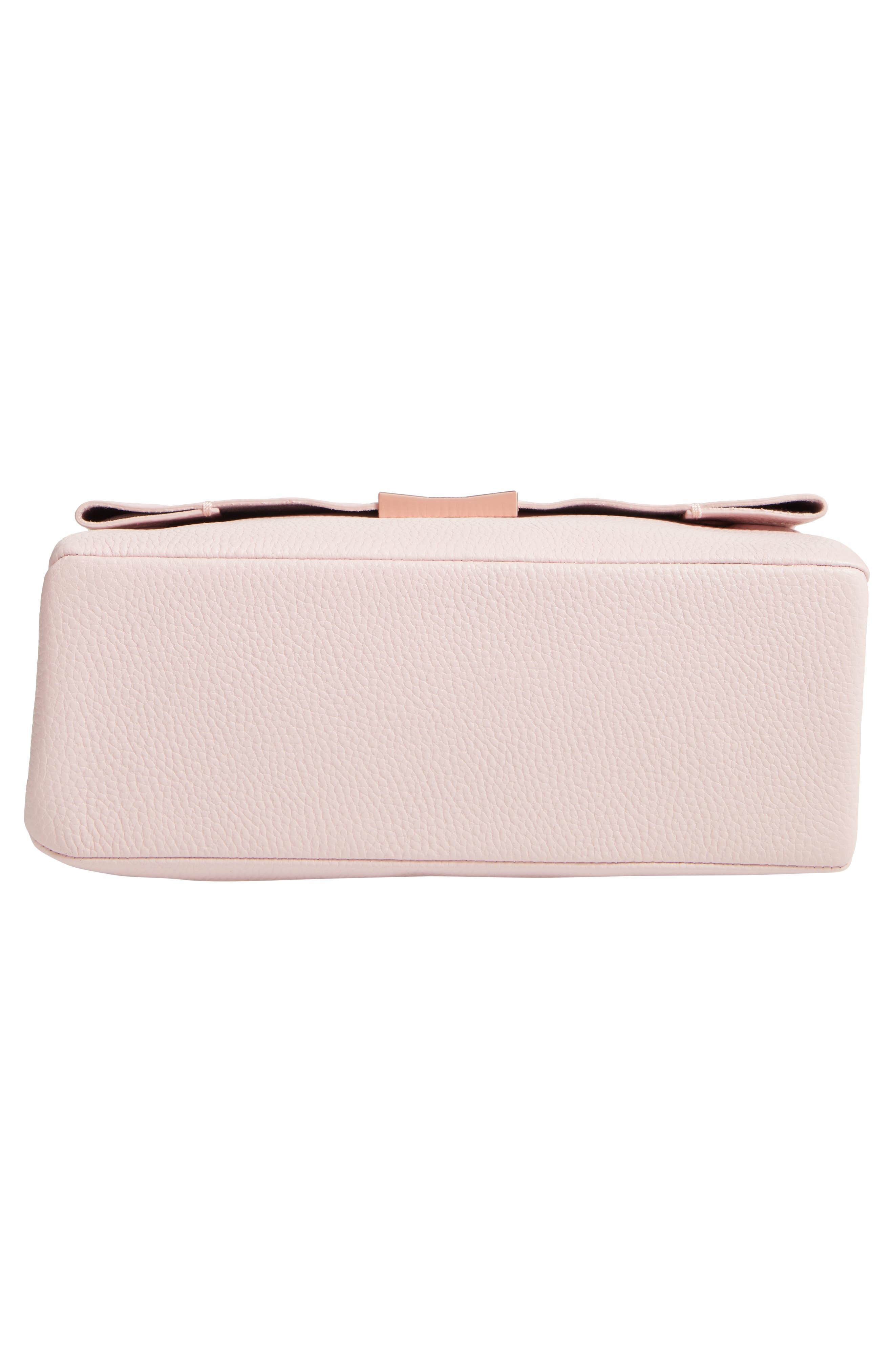 Melody Pom Leather Shoulder Bag,                             Alternate thumbnail 6, color,                             PALE PINK