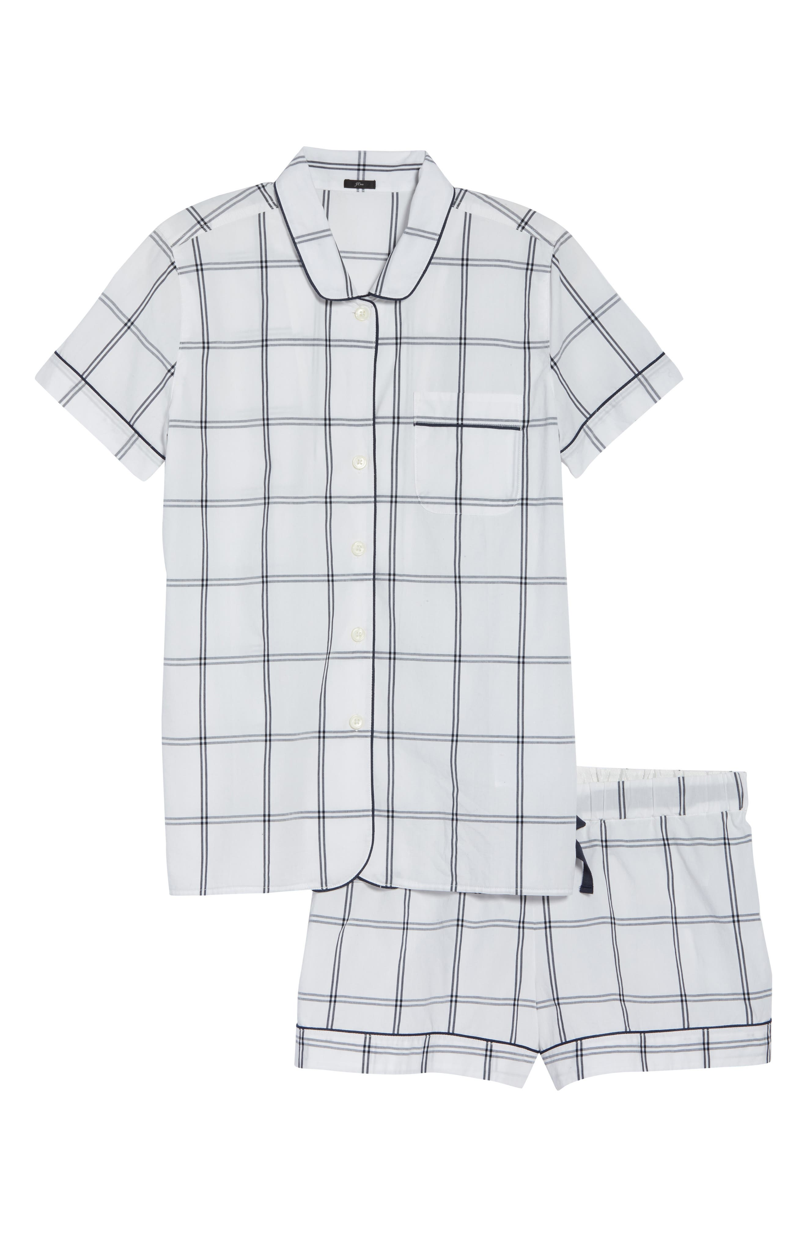 Windowpane Plaid Short Pajamas,                             Alternate thumbnail 6, color,                             IVORY NAVY