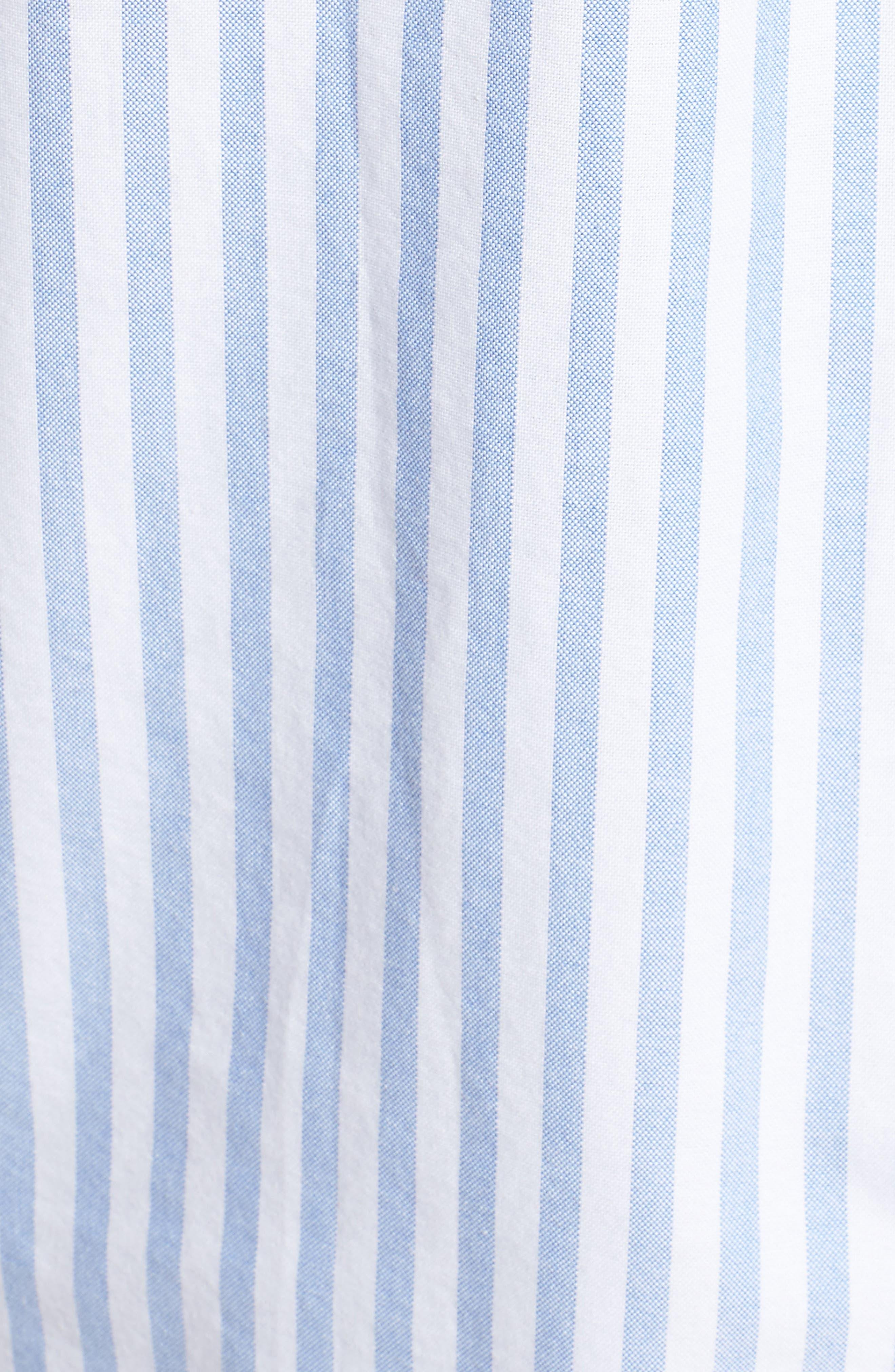 TJW Classics Stripe Shirt,                             Alternate thumbnail 5, color,                             BRIGHT WHITE / LIGHT BLUE