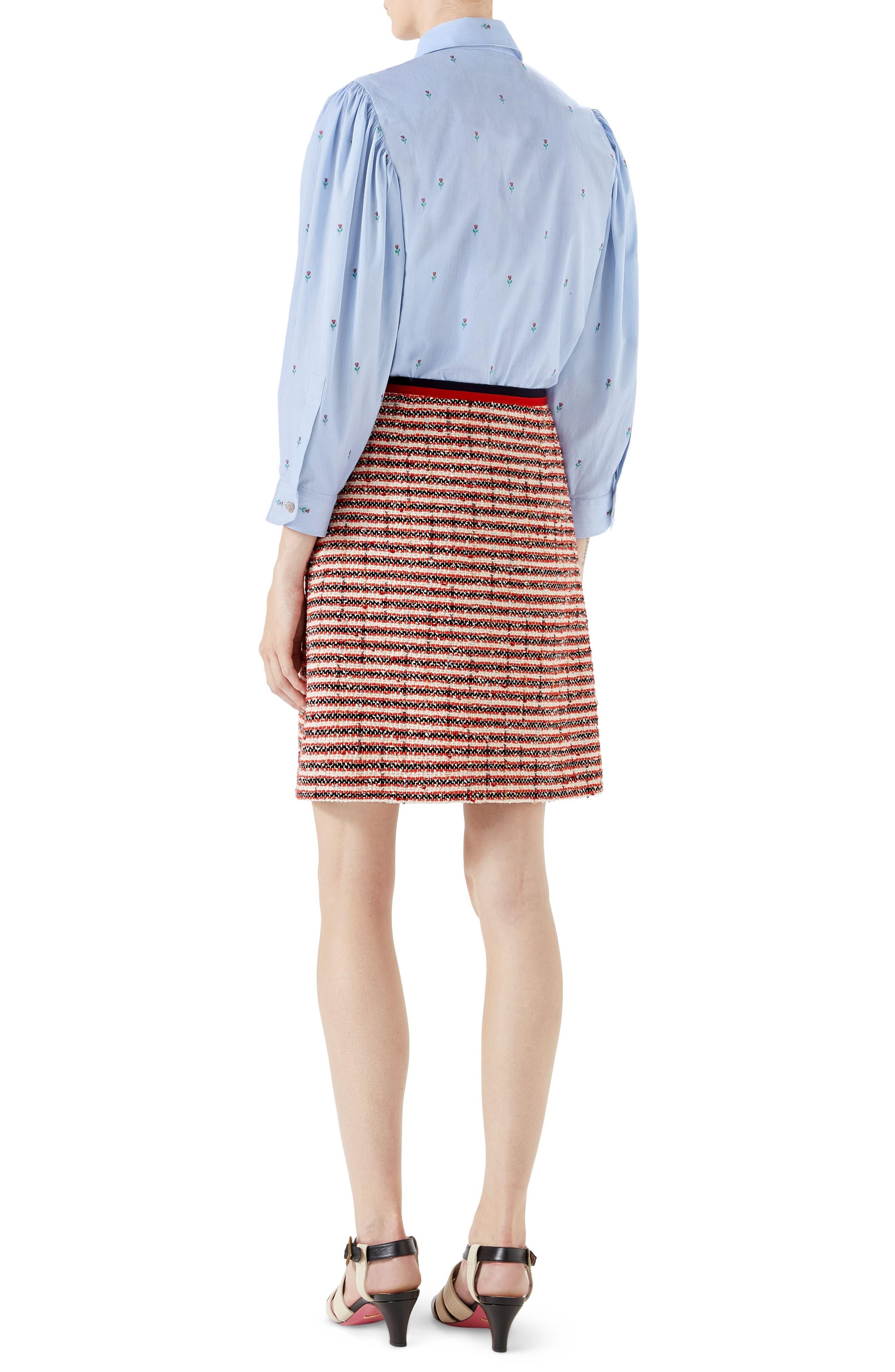 Stripe Tweed A-Line Skirt,                             Alternate thumbnail 6, color,                             GARDENIA-HIBISCUS RED STRIPE