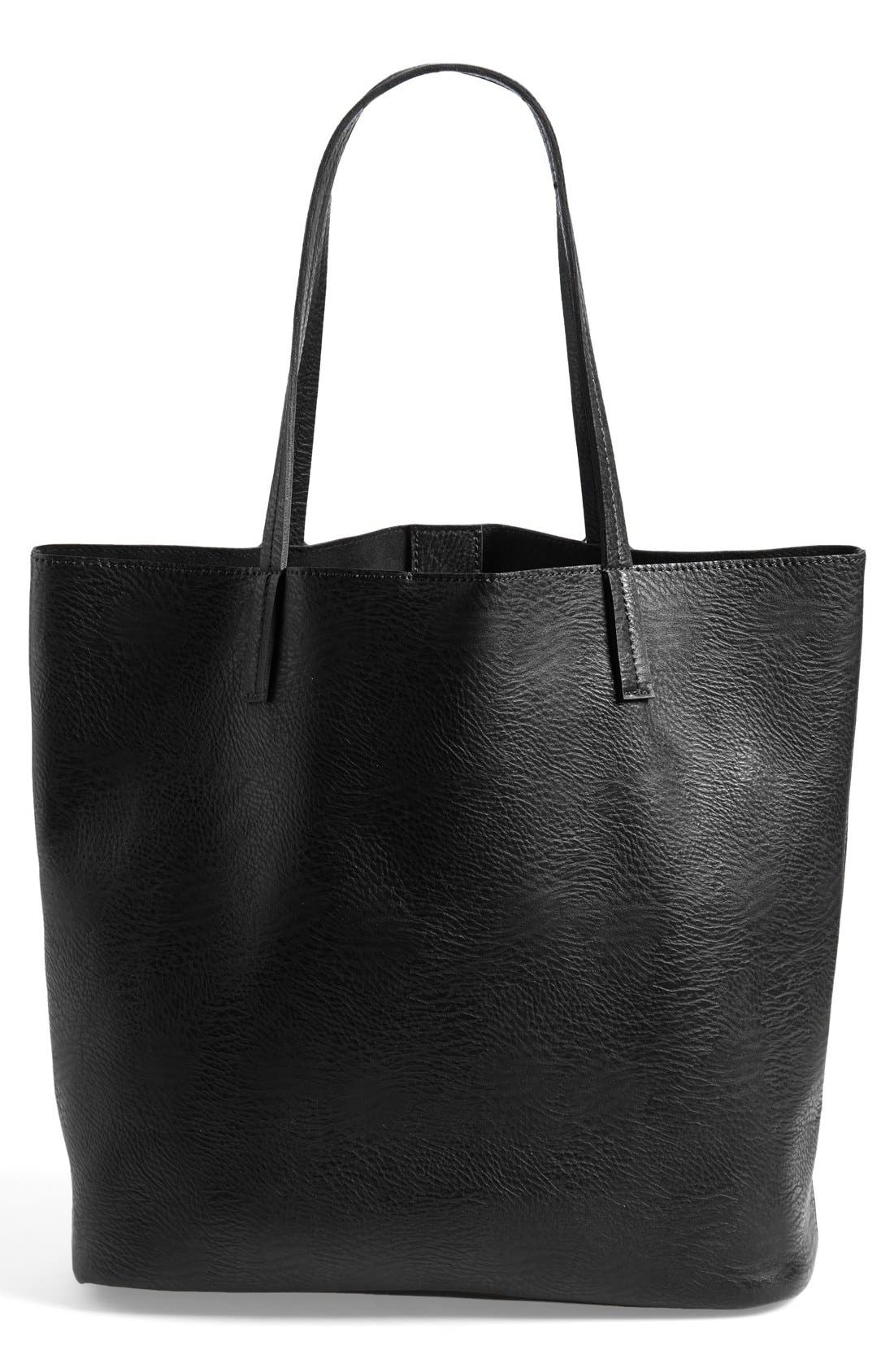 Faux Leather Pocket Tote,                             Alternate thumbnail 5, color,                             001