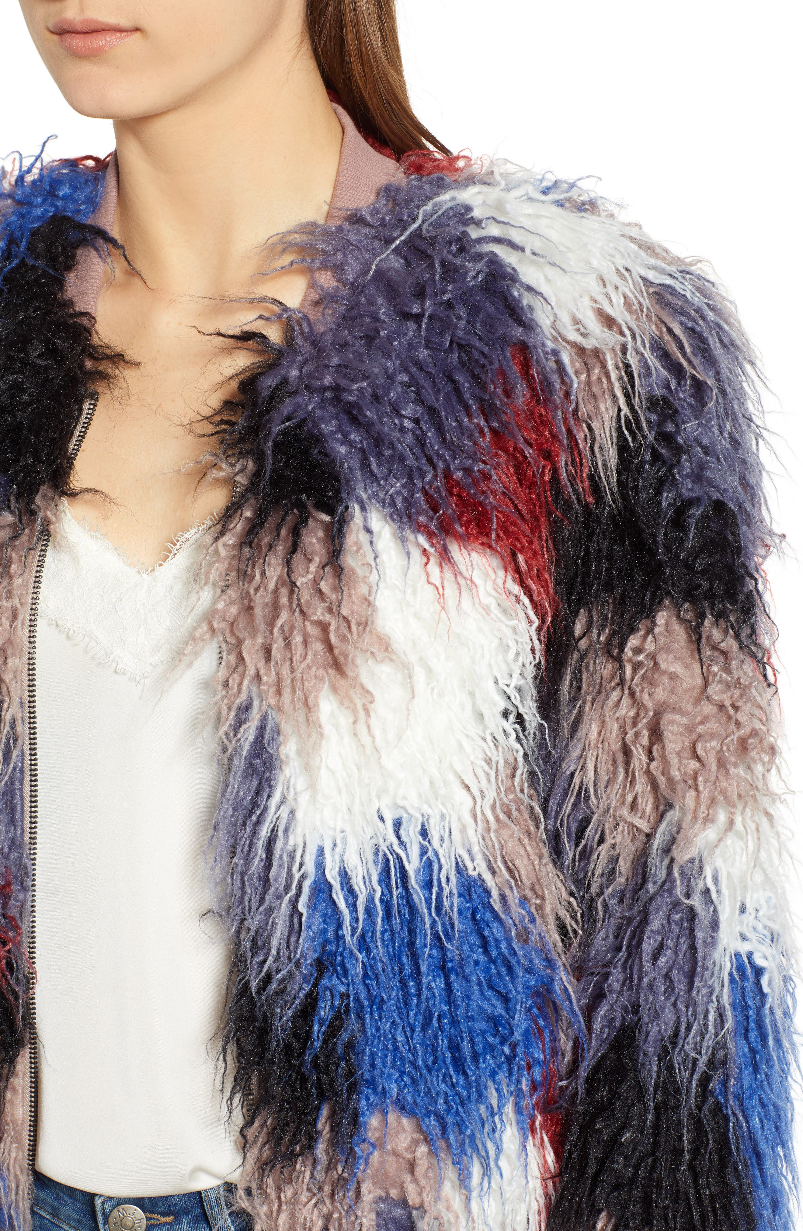 Shaggy Faux Fur Jacket,                             Alternate thumbnail 4, color,                             400