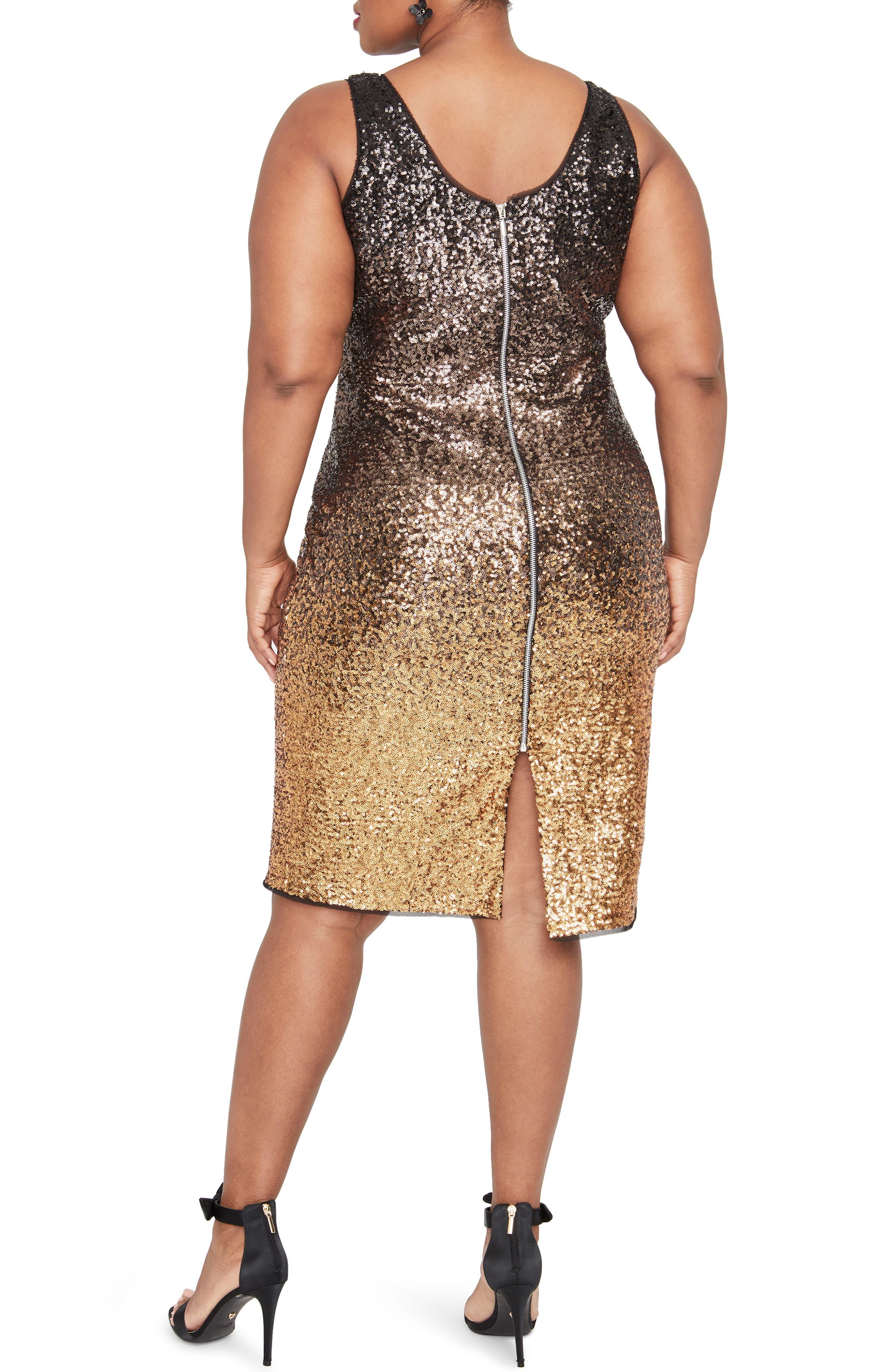 Karine Sequin Sheath Dress,                             Alternate thumbnail 2, color,                             GOLD COMBO