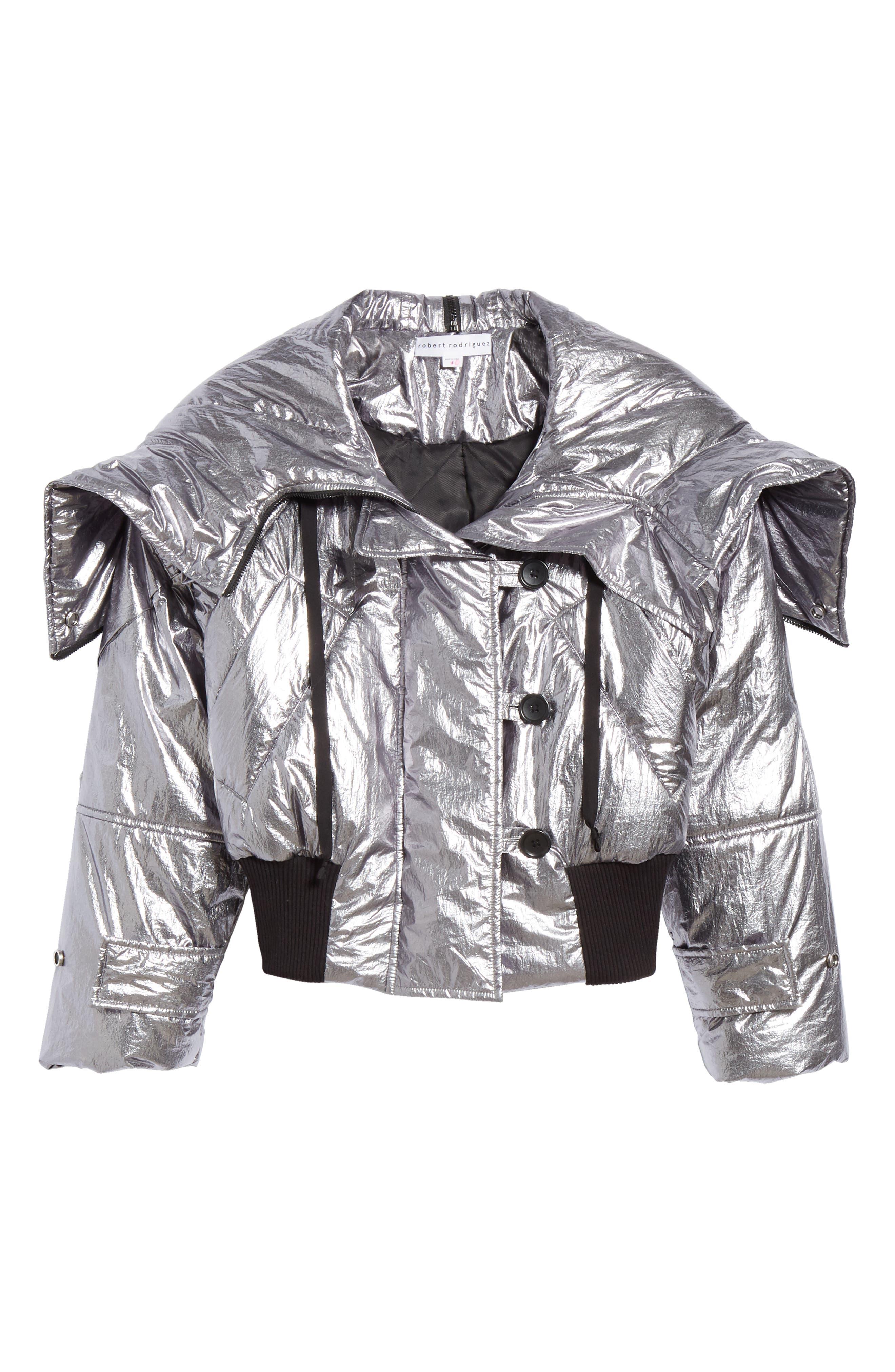 Metallic Crop Puffer Jacket,                             Alternate thumbnail 5, color,                             040