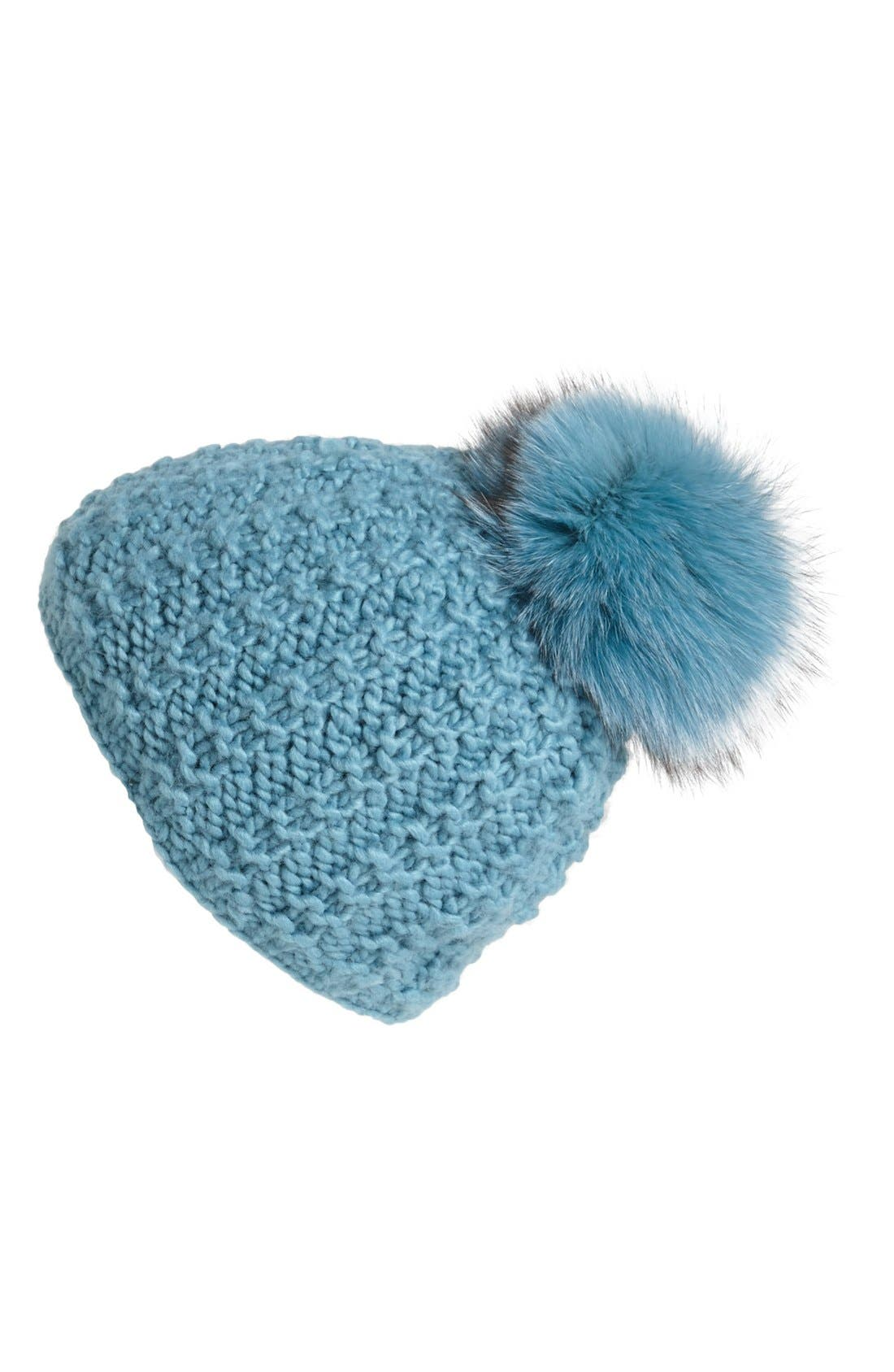 Genuine Fox Pompom Hat,                             Main thumbnail 10, color,