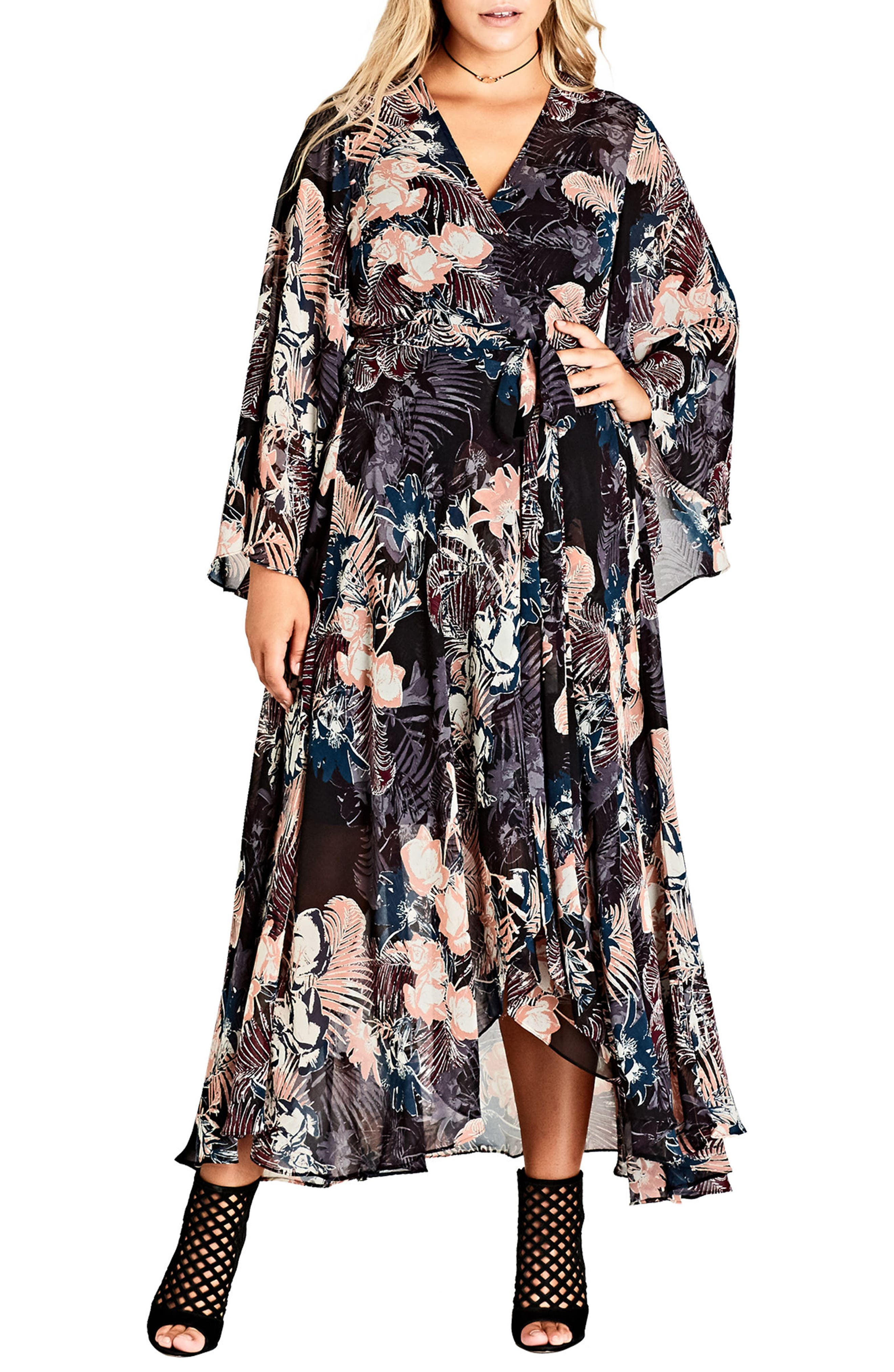 Dark Palm Wrap Maxi Dress,                         Main,                         color, 001