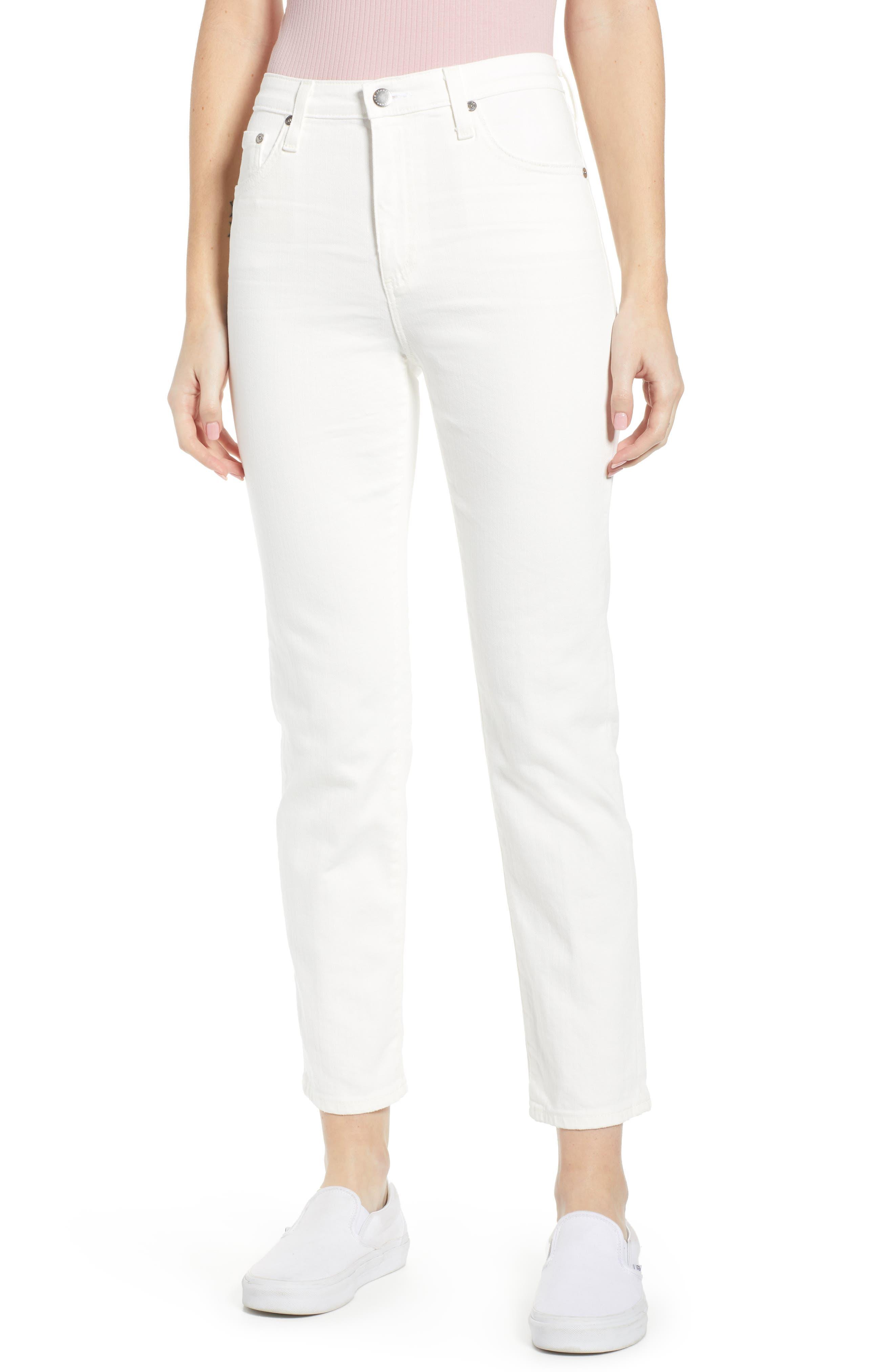 AG,                             The Isabelle High Waist Crop Straight Leg Jeans,                             Main thumbnail 1, color,                             01 YEAR TONAL WHITE