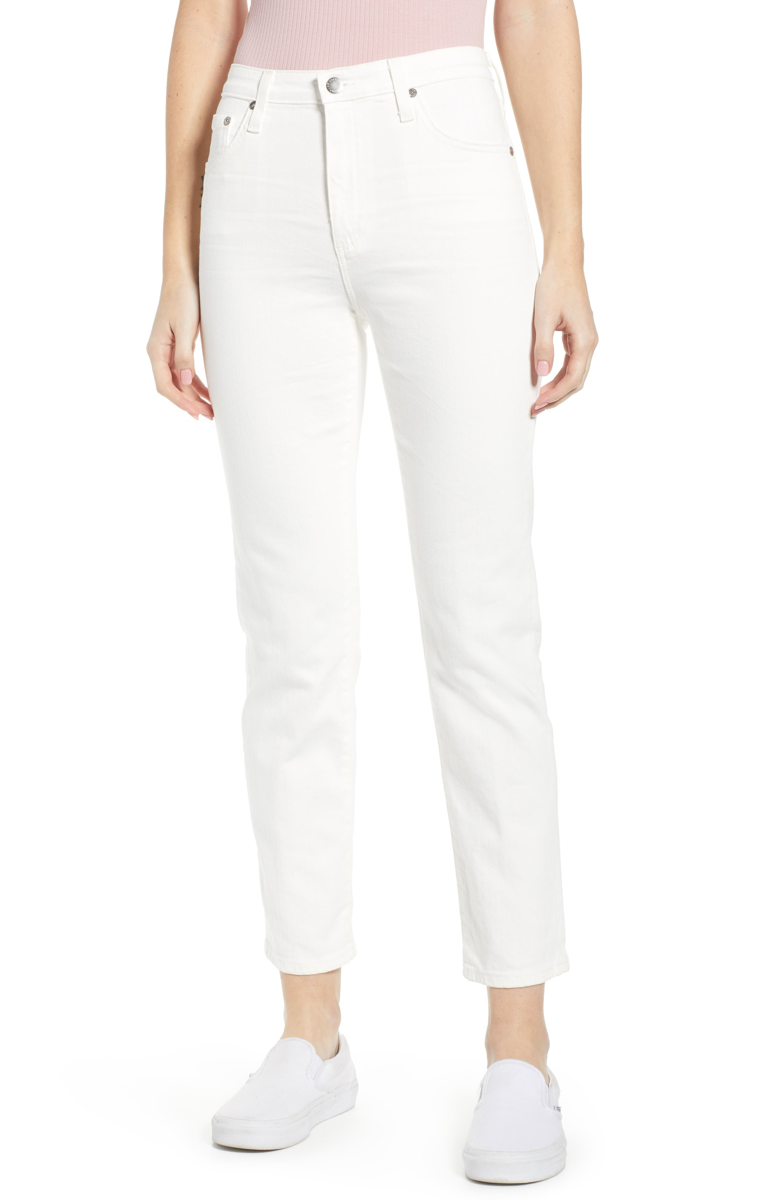 AG The Isabelle High Waist Crop Straight Leg Jeans, Main, color, 01 YEAR TONAL WHITE