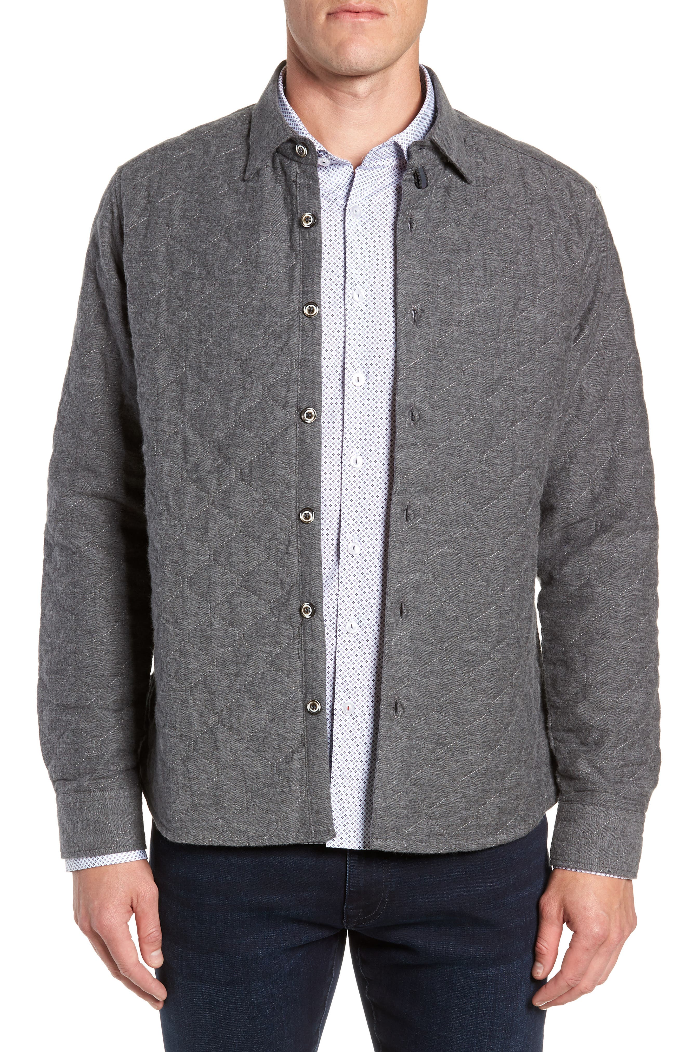 Trim Fit Quilted Shirt Jacket,                         Main,                         color, CHARCOAL