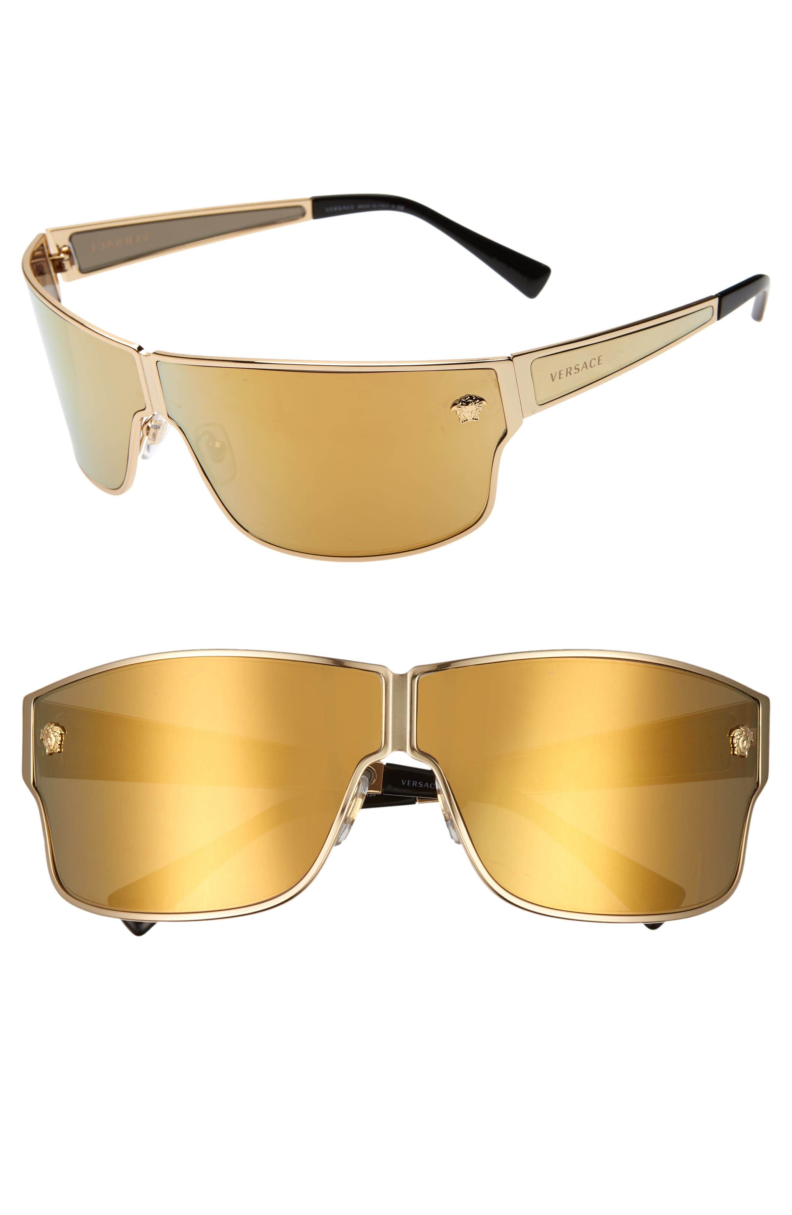 Medusa 72mm Mirrored Shield Sunglasses,                             Main thumbnail 1, color,                             GOLD/ GOLD MIRROR