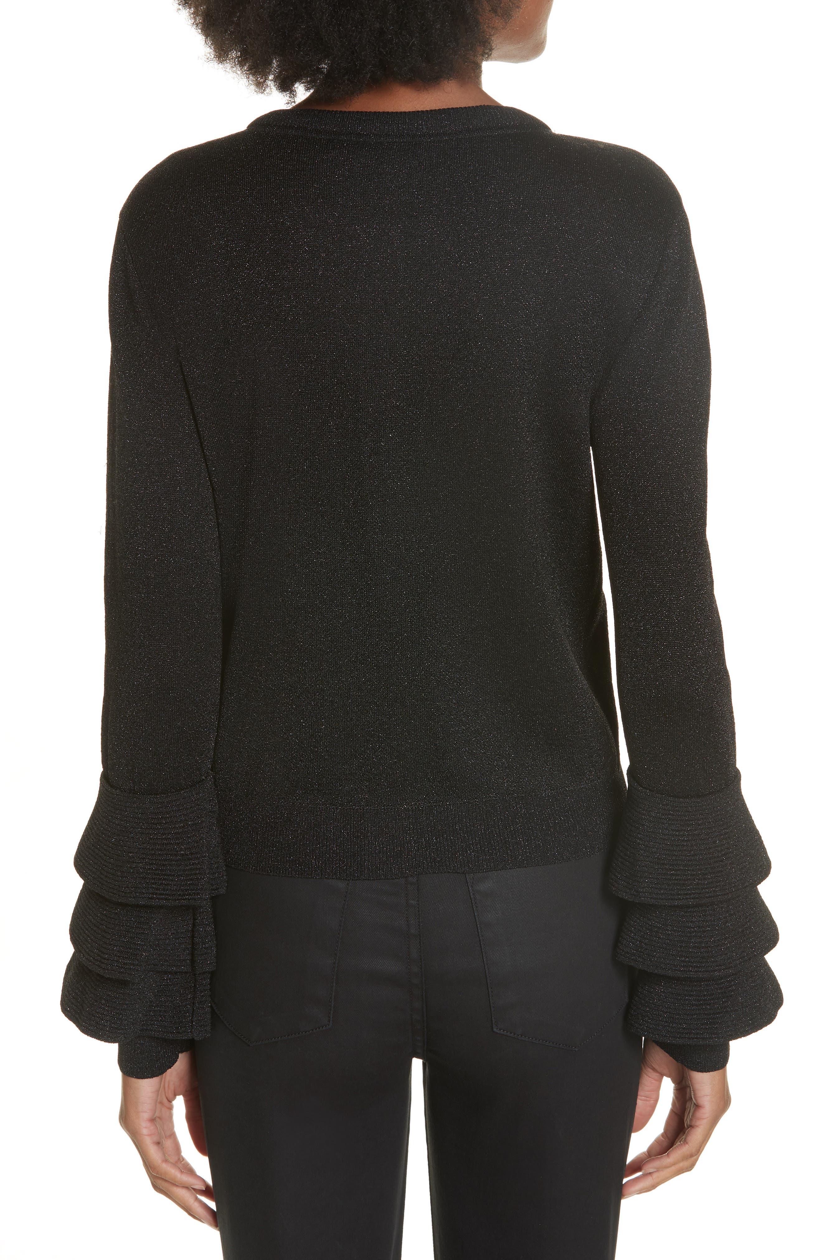 Ruthy Ruffle Cuff Sparkle Wool Blend Cardigan,                             Alternate thumbnail 2, color,                             BLACK METALLIC