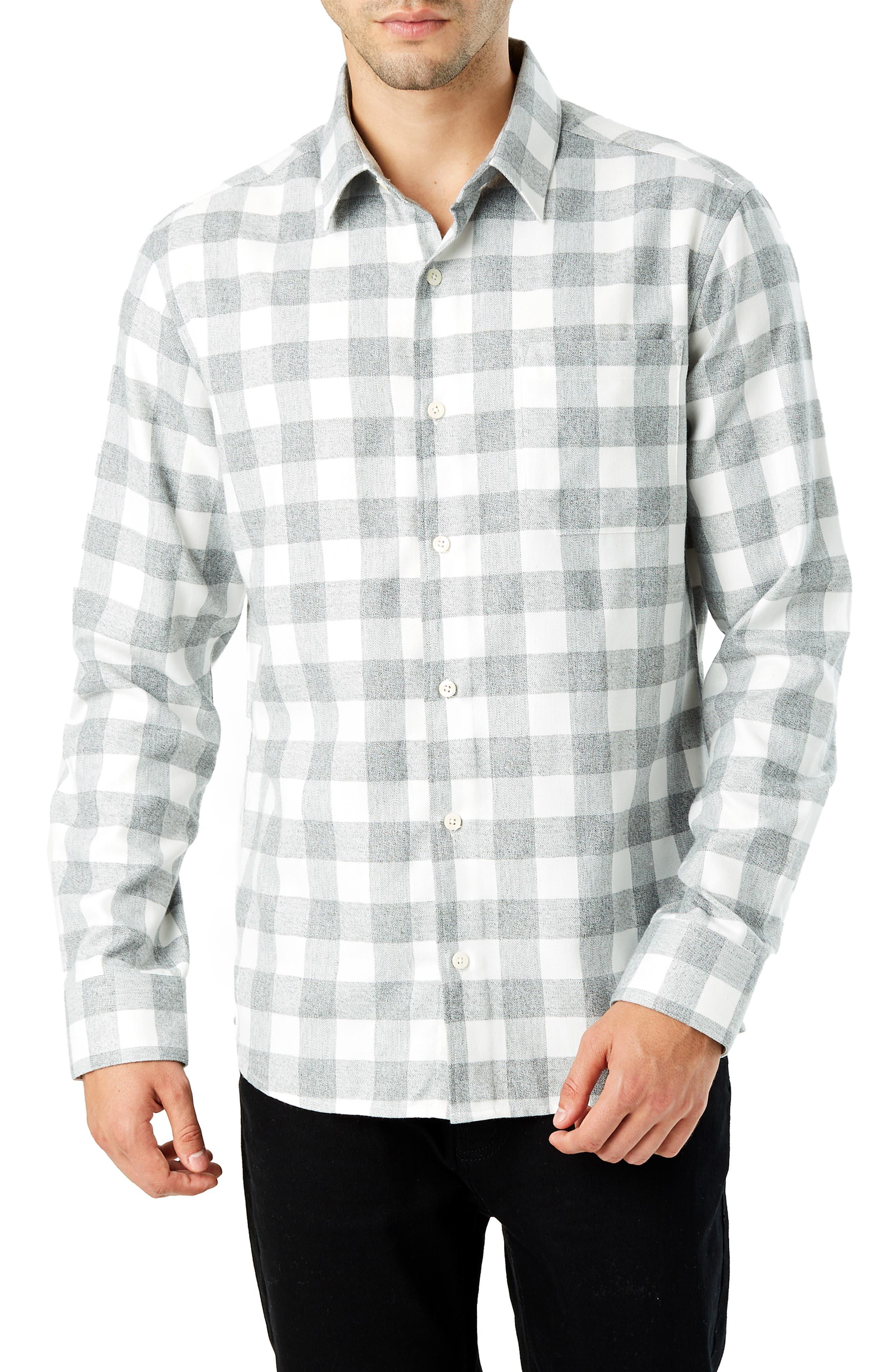 Sparrow Trim Fit Flannel Shirt,                             Main thumbnail 1, color,                             GREY WHITE