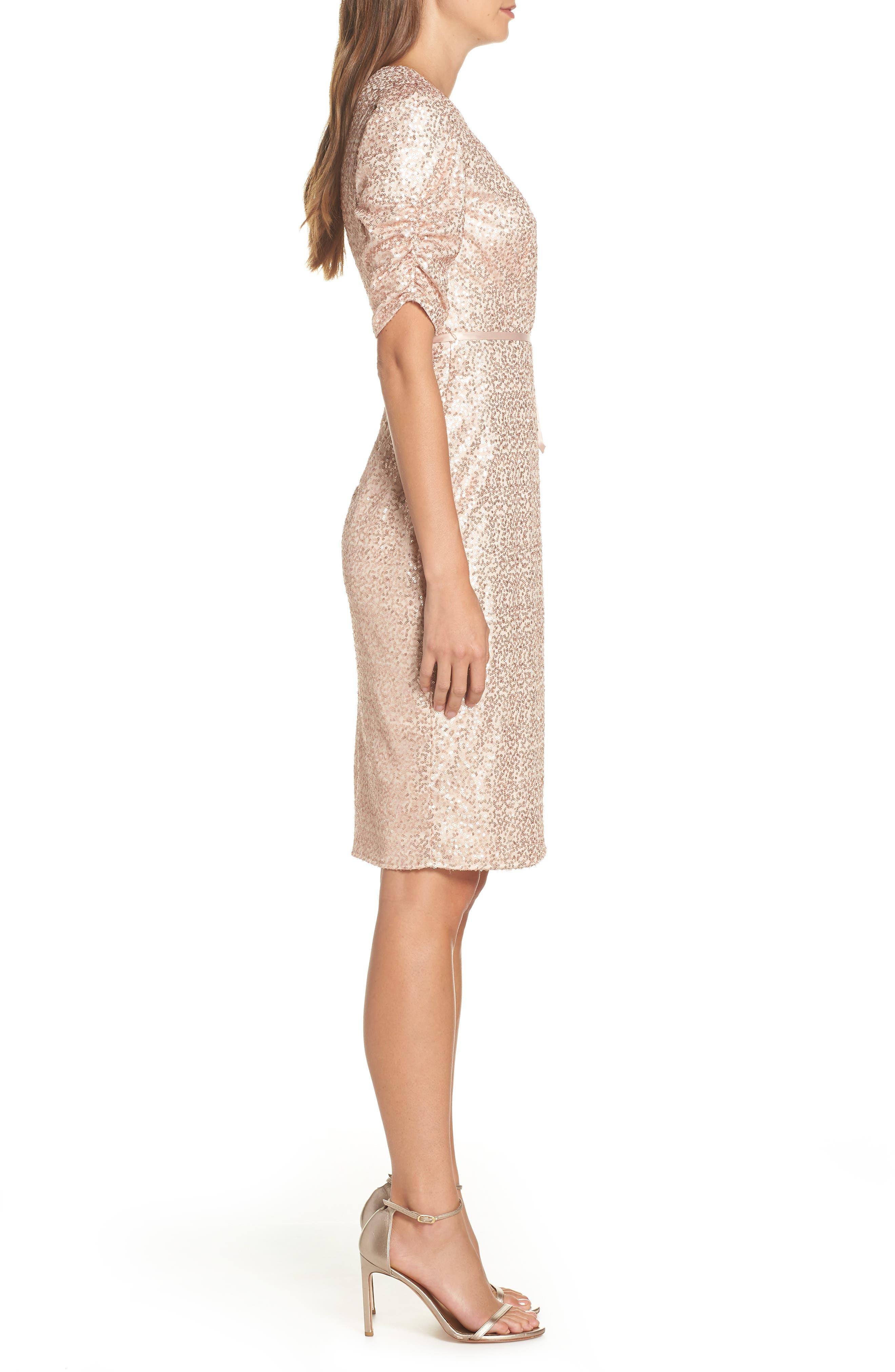 Sequin Faux Wrap Dress,                             Alternate thumbnail 3, color,                             NUDE