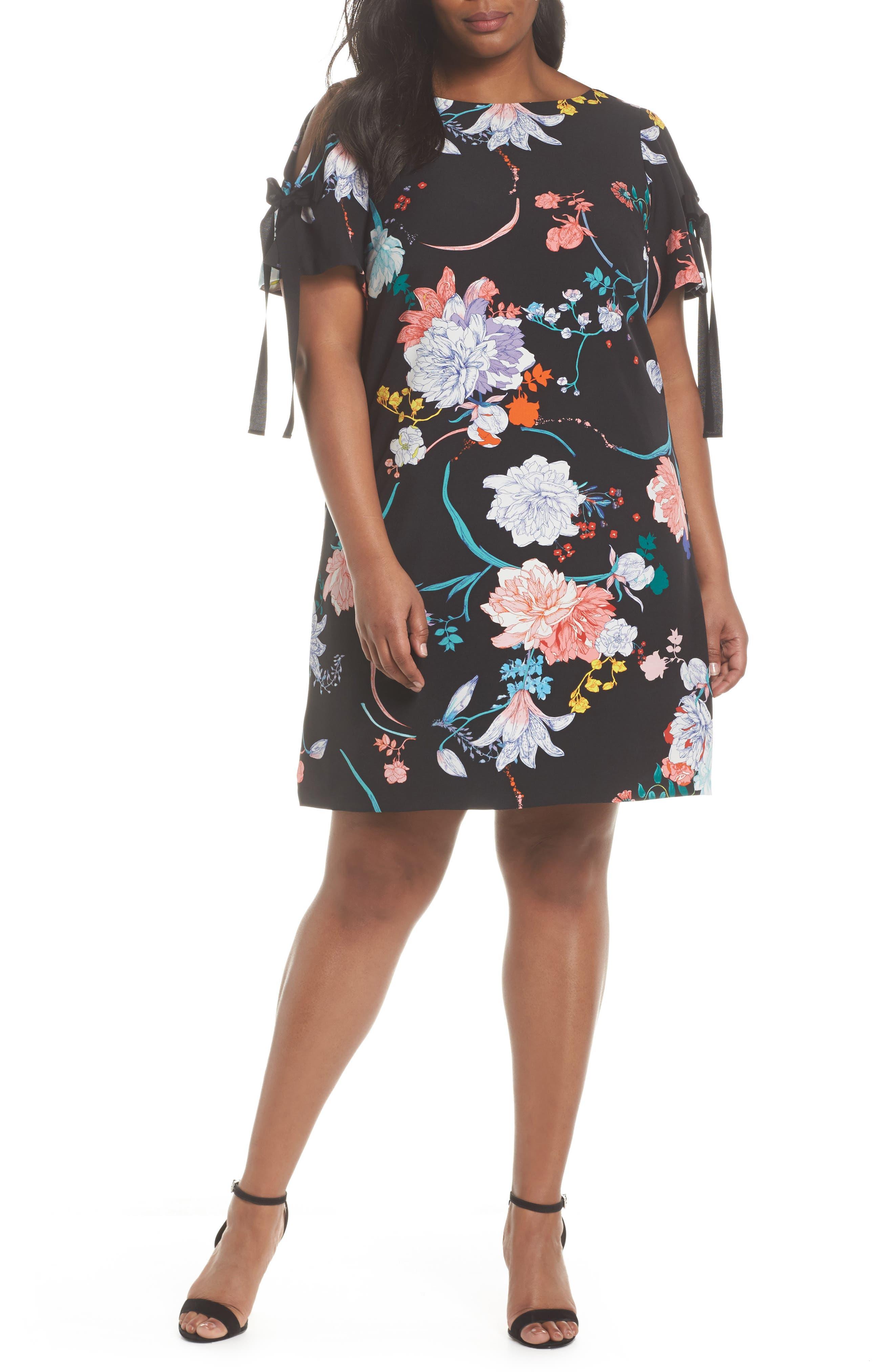 Zen Blosson Shift Dress,                             Main thumbnail 1, color,                             BLACK MULTI