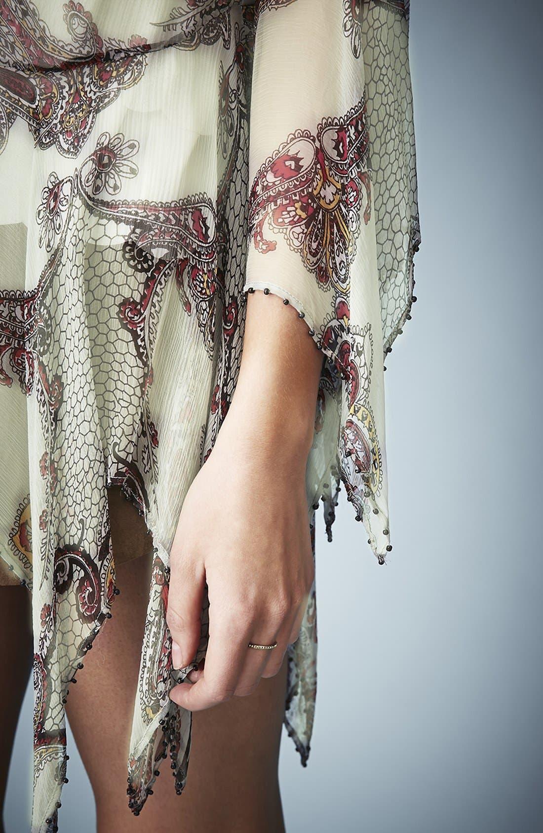Kate Moss for Topshop Draped Paisley Tie Blouse,                             Alternate thumbnail 5, color,