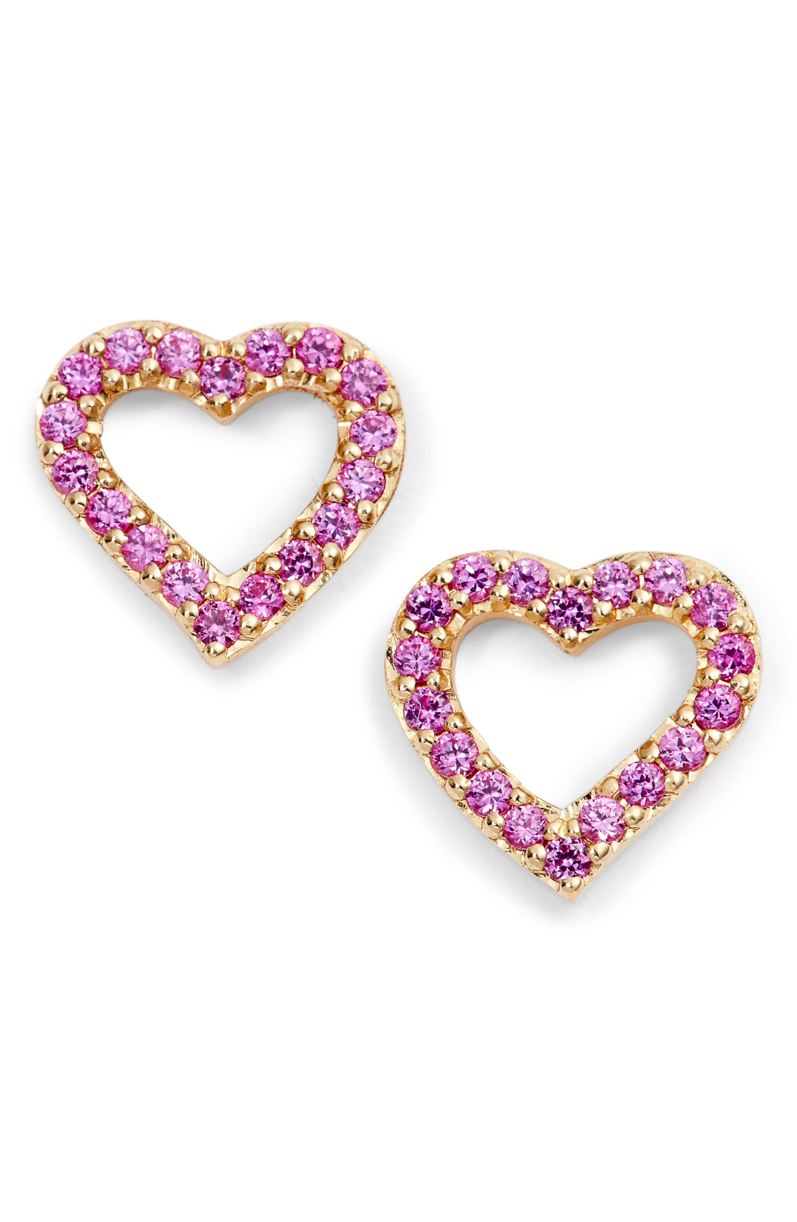 Mini Heart Sapphire Stud Earrings,                         Main,                         color, 710