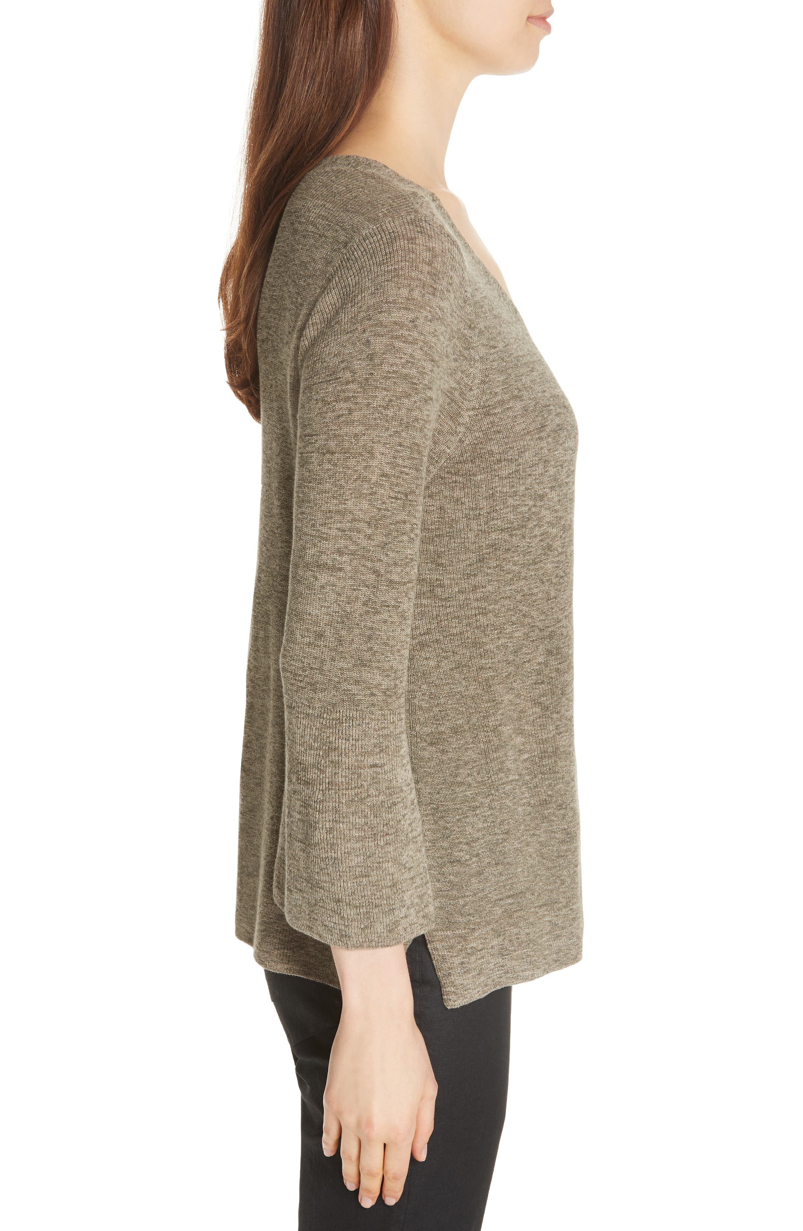 Bell Cuff Organic Cotton Sweater,                             Alternate thumbnail 3, color,                             OLIVE