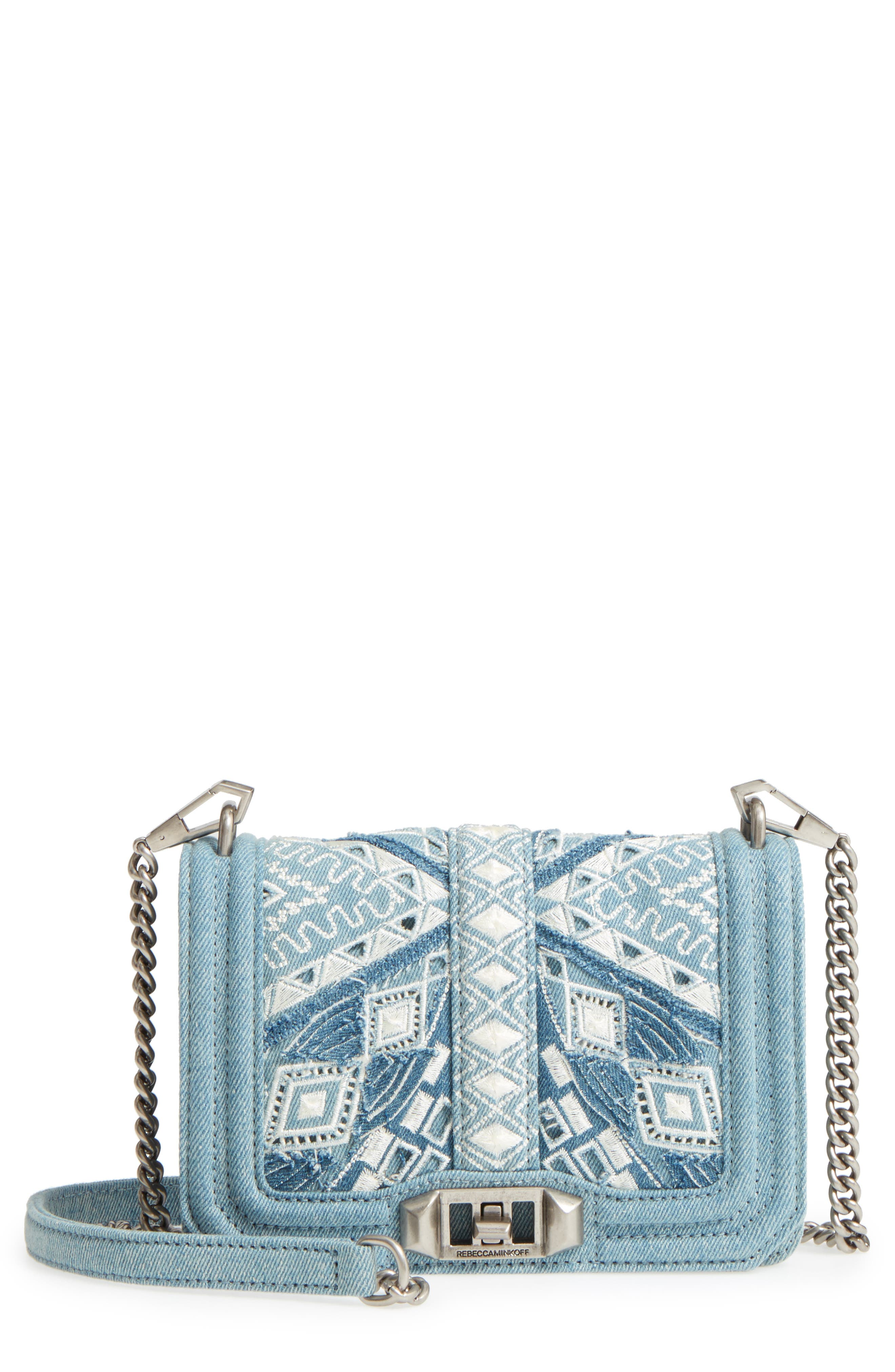 Small Love Embroidered Denim Crossbody,                             Main thumbnail 1, color,