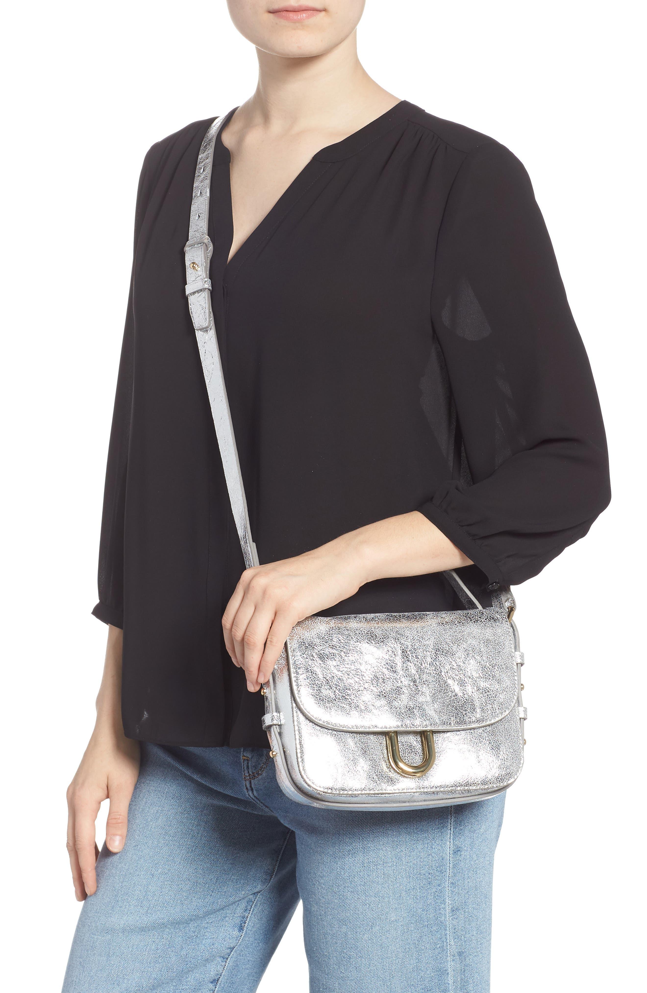 Harper Metallic Leather Crossbody Bag,                             Alternate thumbnail 2, color,                             METALLIC SILVER