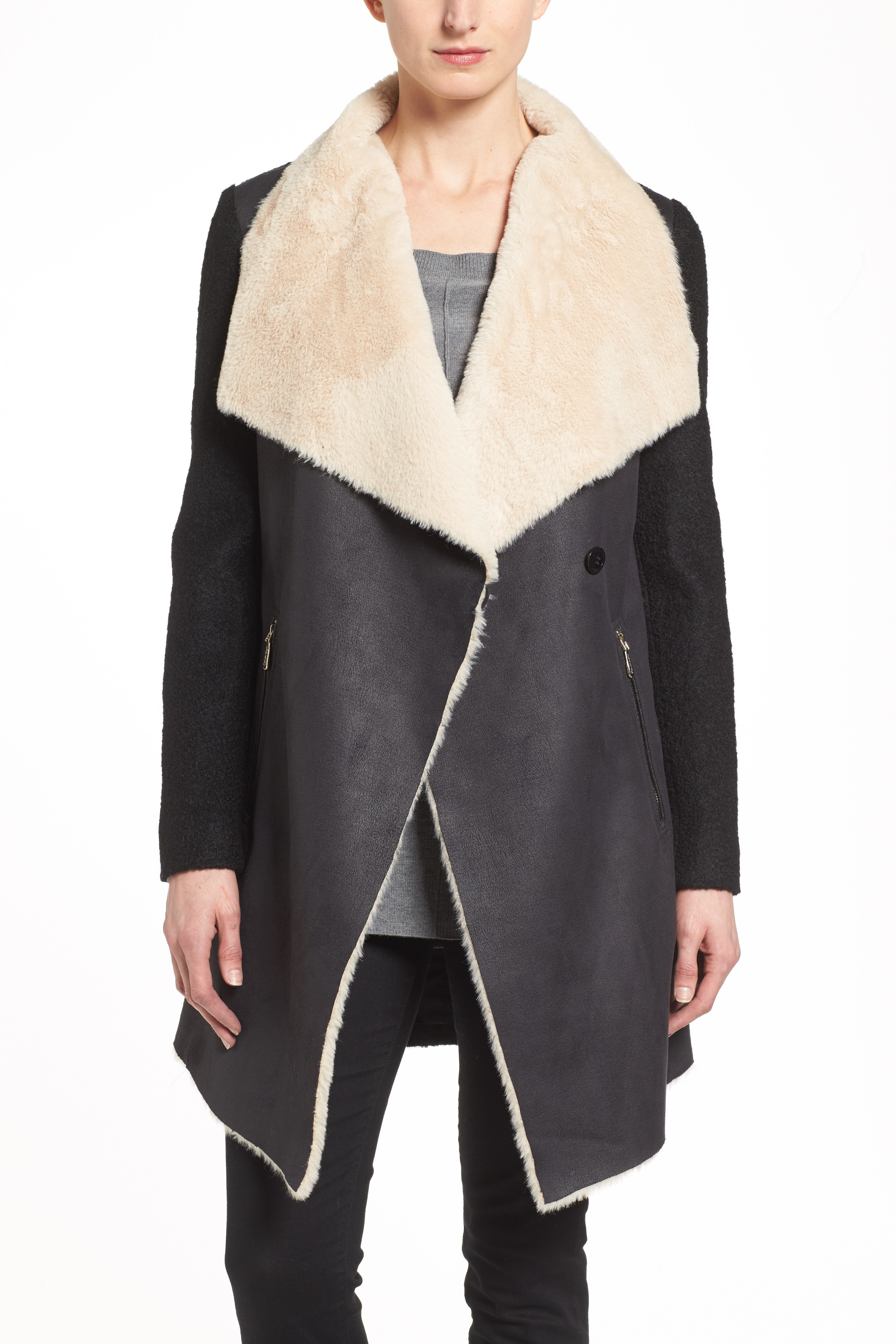 Mixed Media Coat with Faux Shearling Front,                             Alternate thumbnail 2, color,                             001