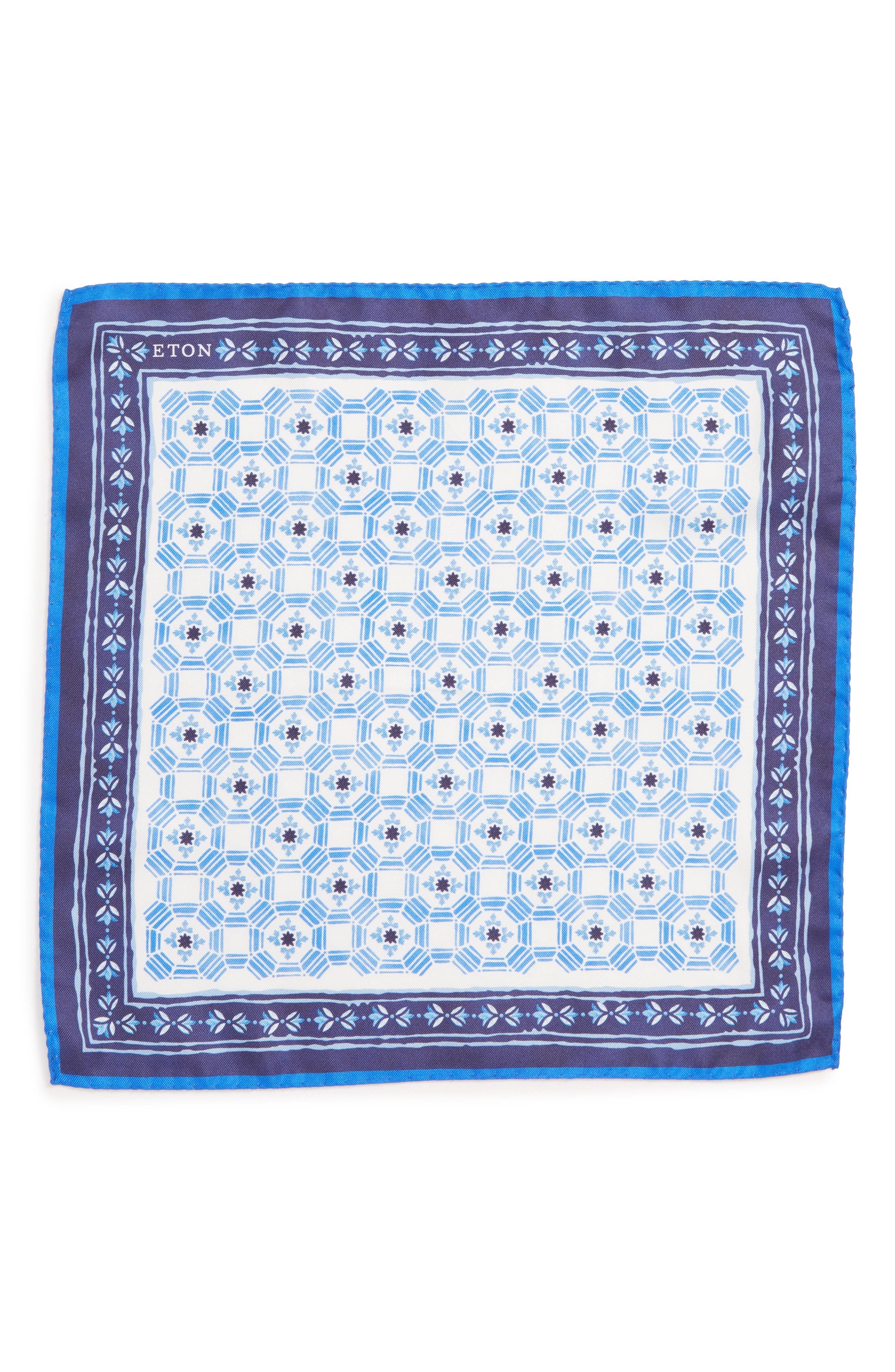 Medallion Silk Pocket Square,                             Alternate thumbnail 2, color,                             NAVY \ BLUE