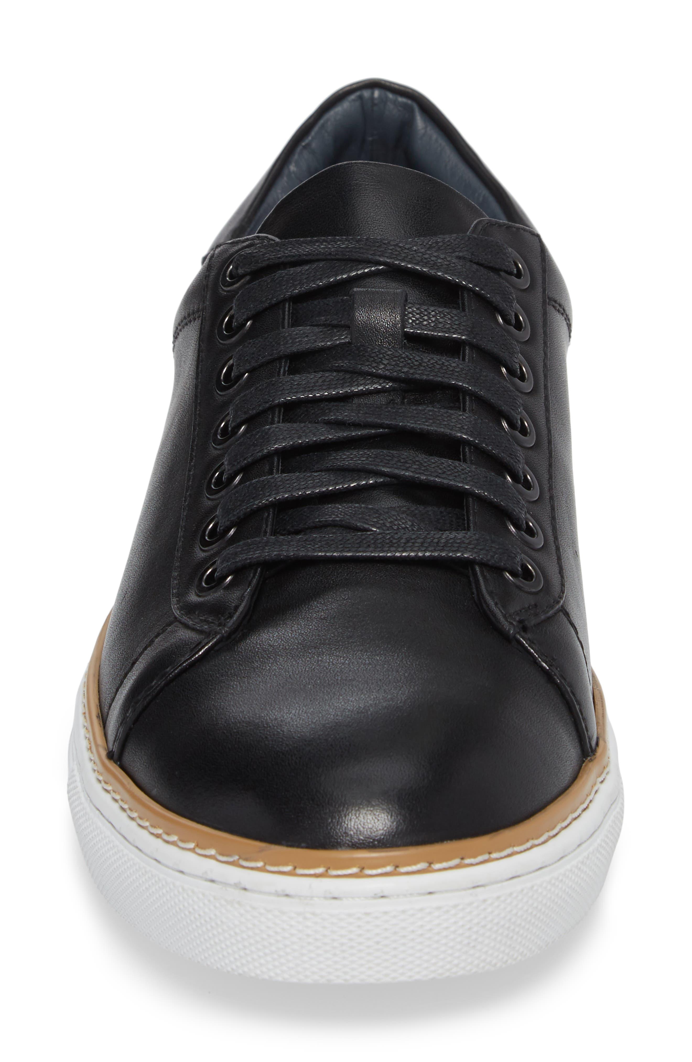 Juniper Low Top Sneaker,                             Alternate thumbnail 4, color,                             BLACK LEATHER