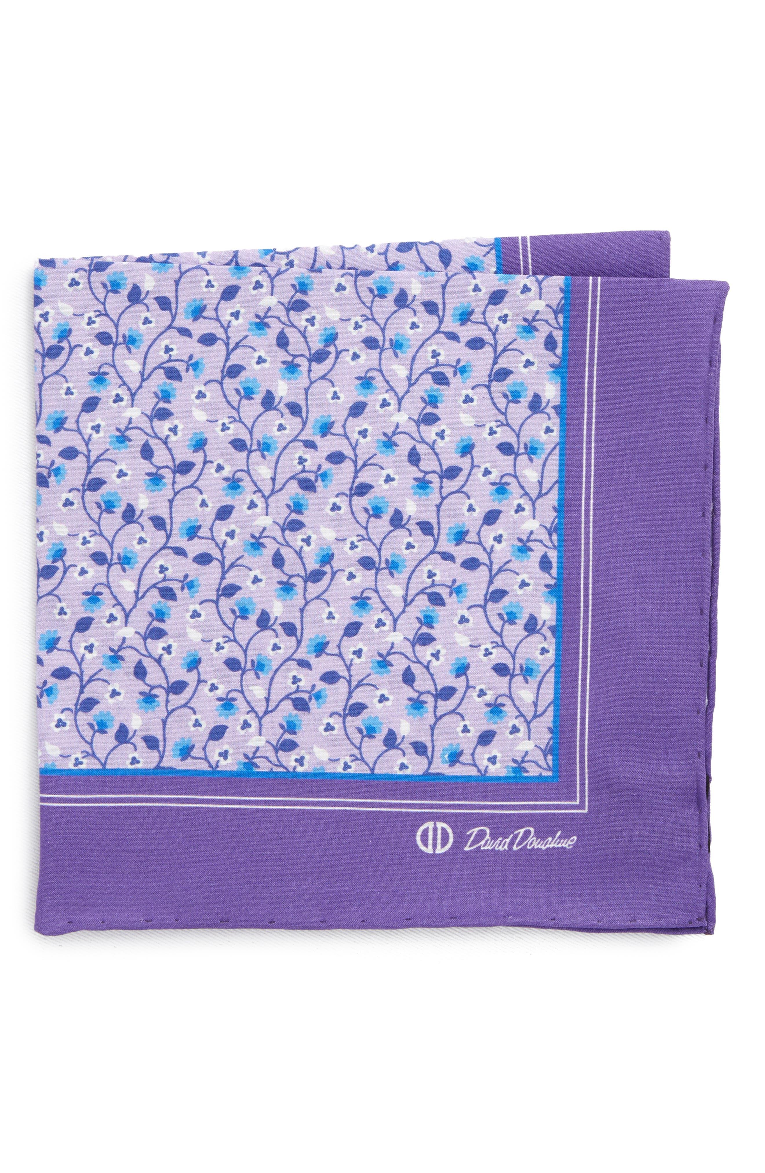 Floral Cotton Pocket Square,                         Main,                         color, 500