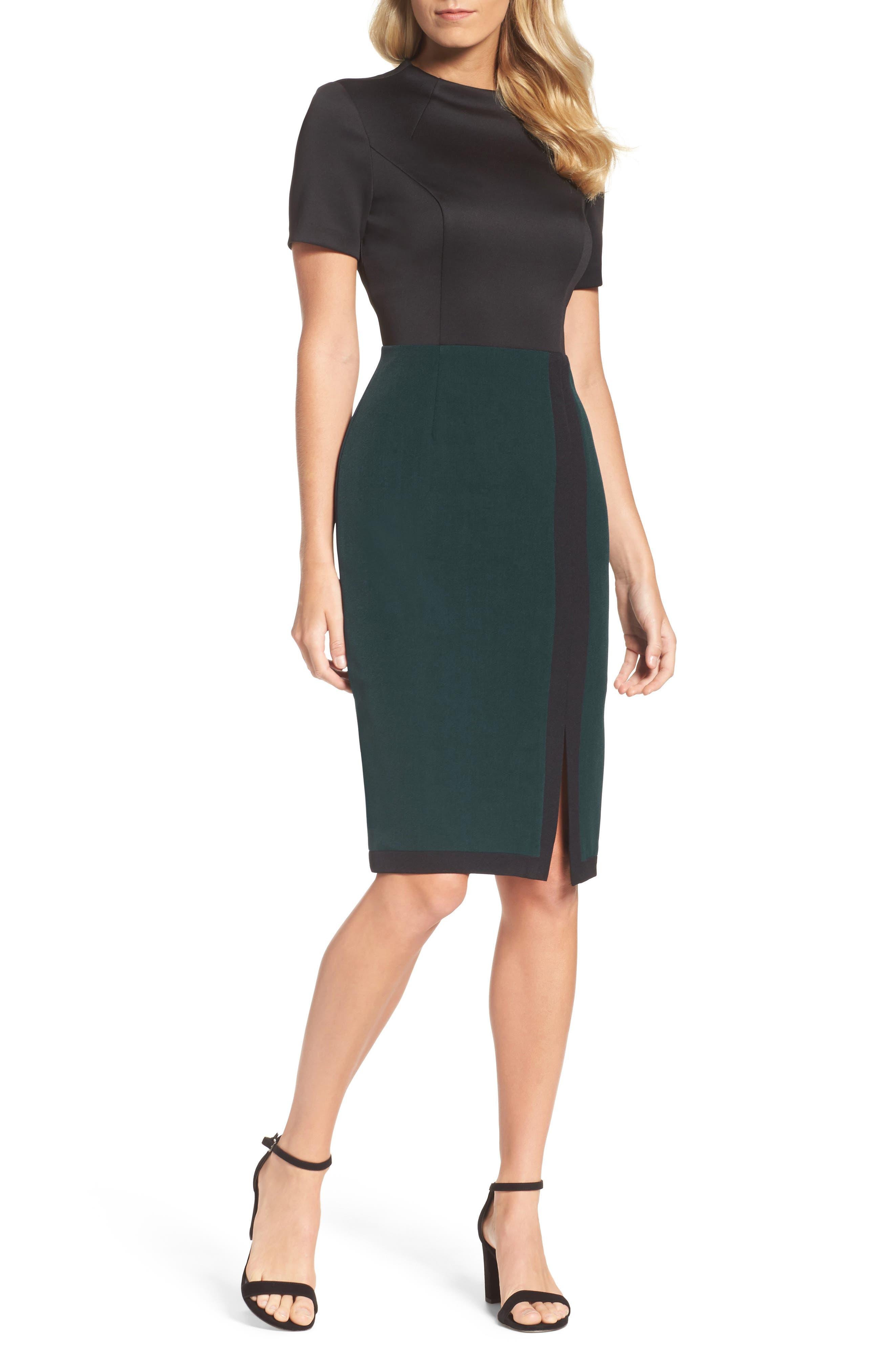 Scuba & Crepe Sheath Dress,                             Main thumbnail 1, color,
