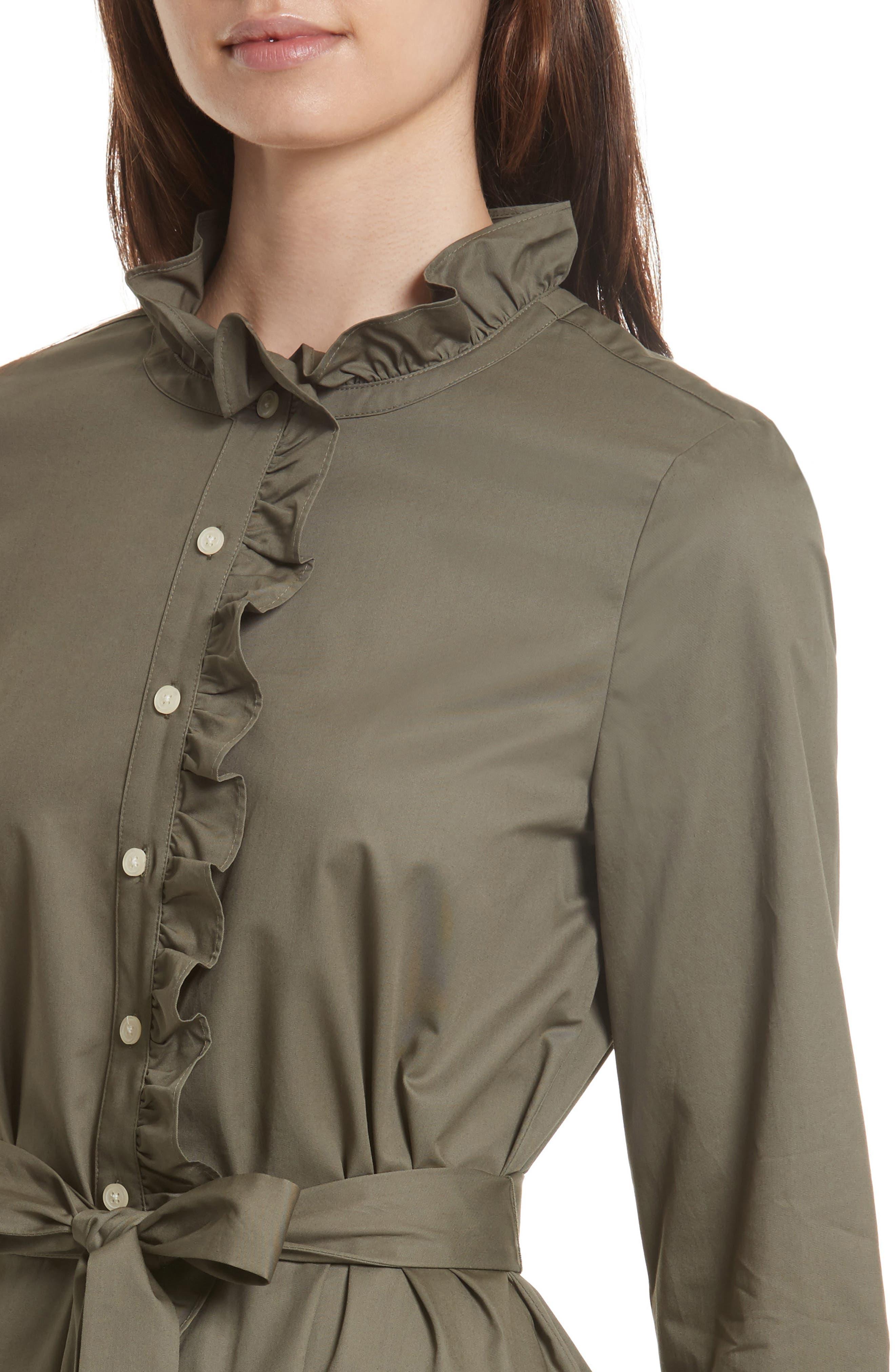 ruffle trim poplin shirtdress,                             Alternate thumbnail 4, color,                             301