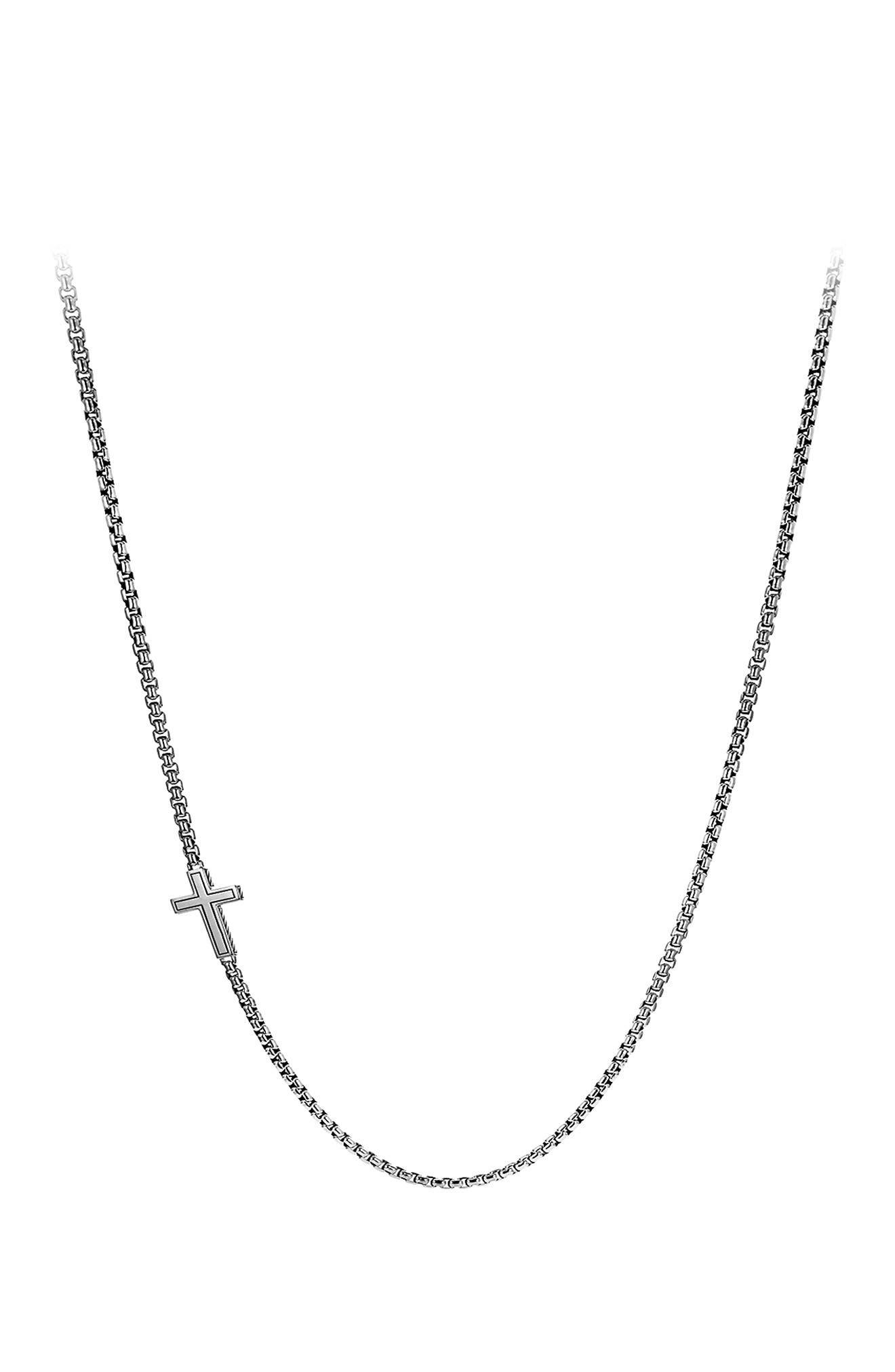 Pavé Cross Necklace with Diamonds,                             Alternate thumbnail 3, color,                             BLACK DIAMOND
