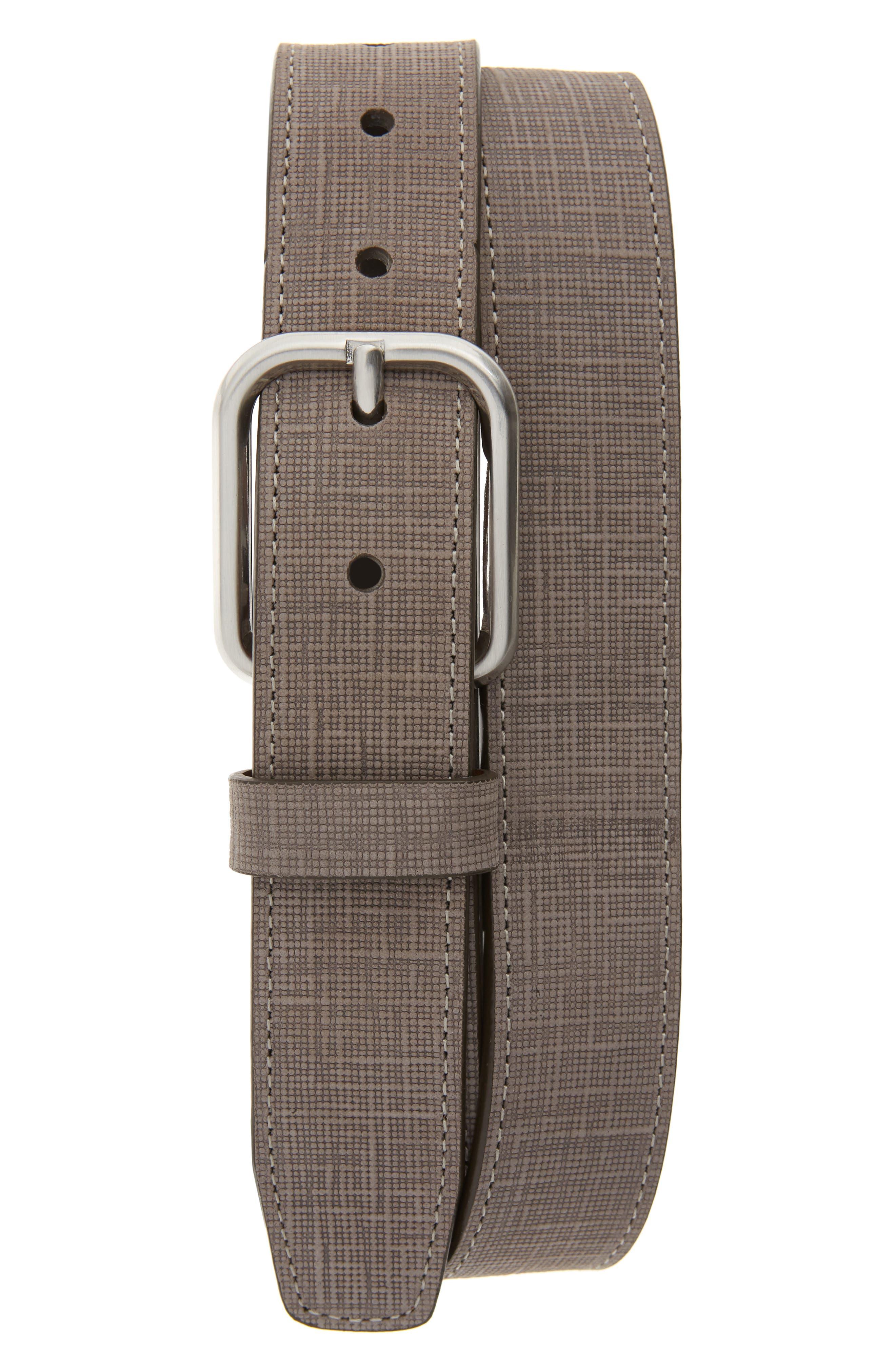 Johnston & Murphy Crosshatch Leather Belt, Gray
