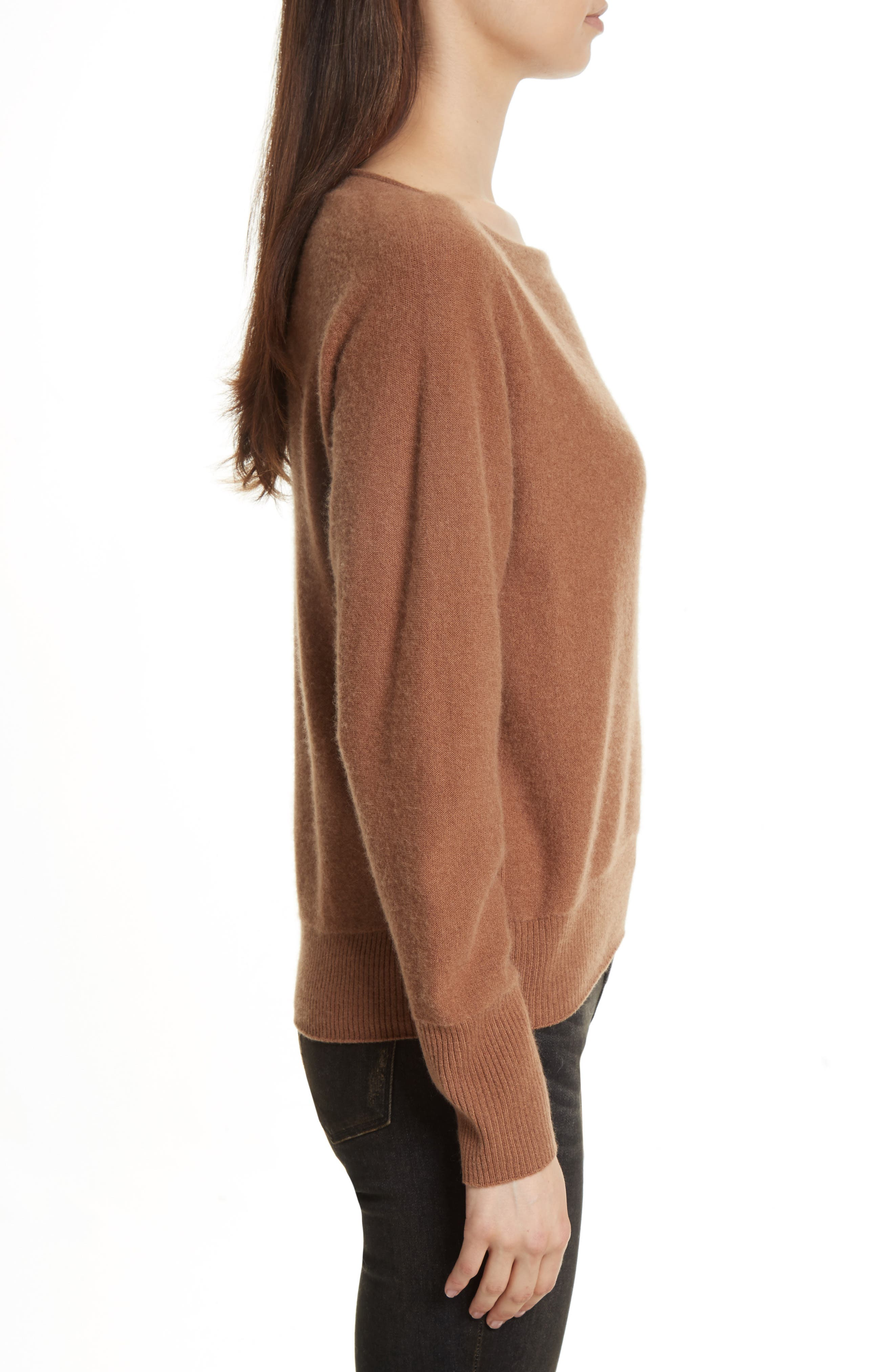 Boat Neck Cashmere Pullover,                             Alternate thumbnail 3, color,                             850