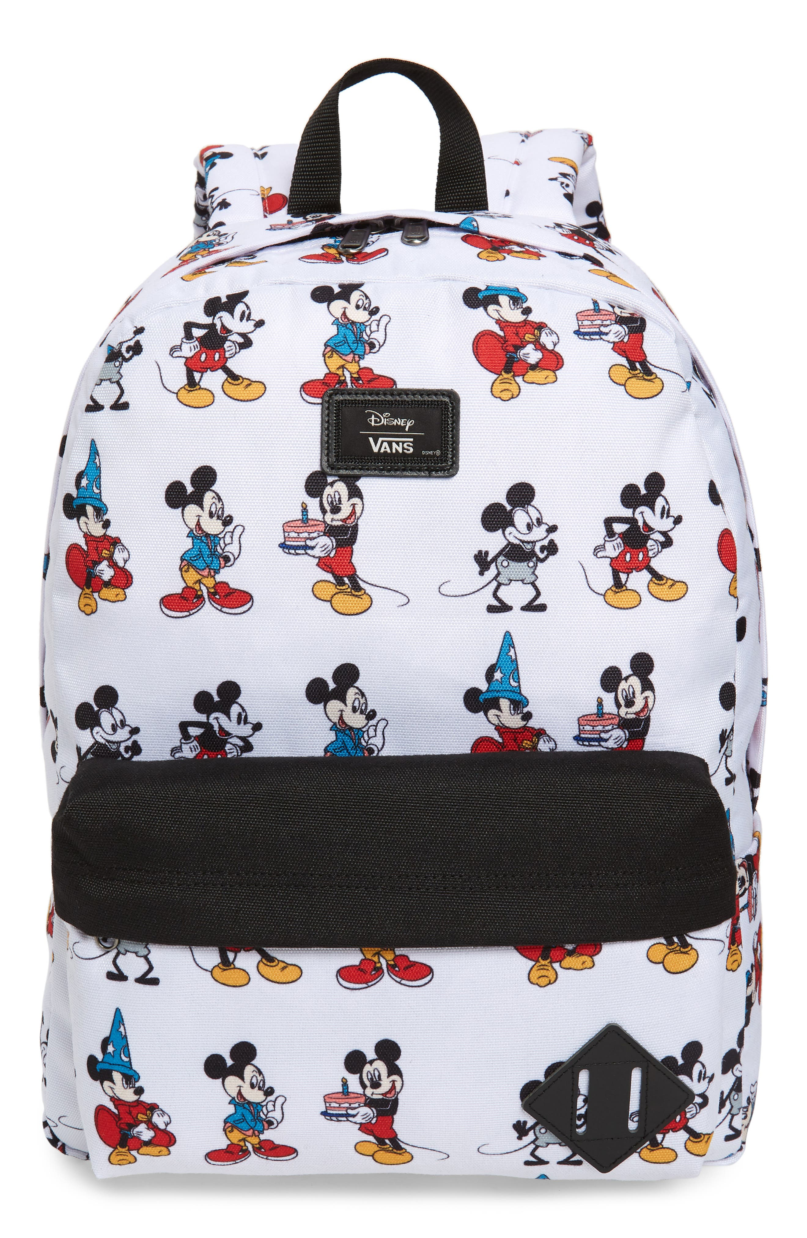 x Disney Mickey's 90th Anniversary - Mickey Through the Ages Backpack,                             Main thumbnail 1, color,                             WHITE
