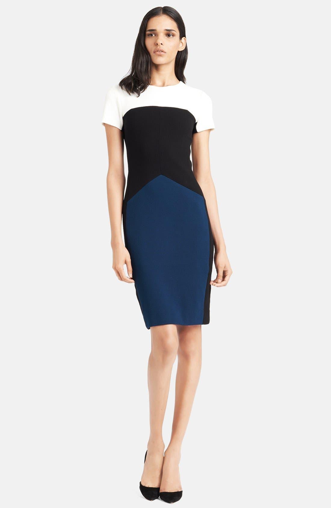 Colorblock Stretch Pebble Crepe Dress,                             Main thumbnail 1, color,                             400