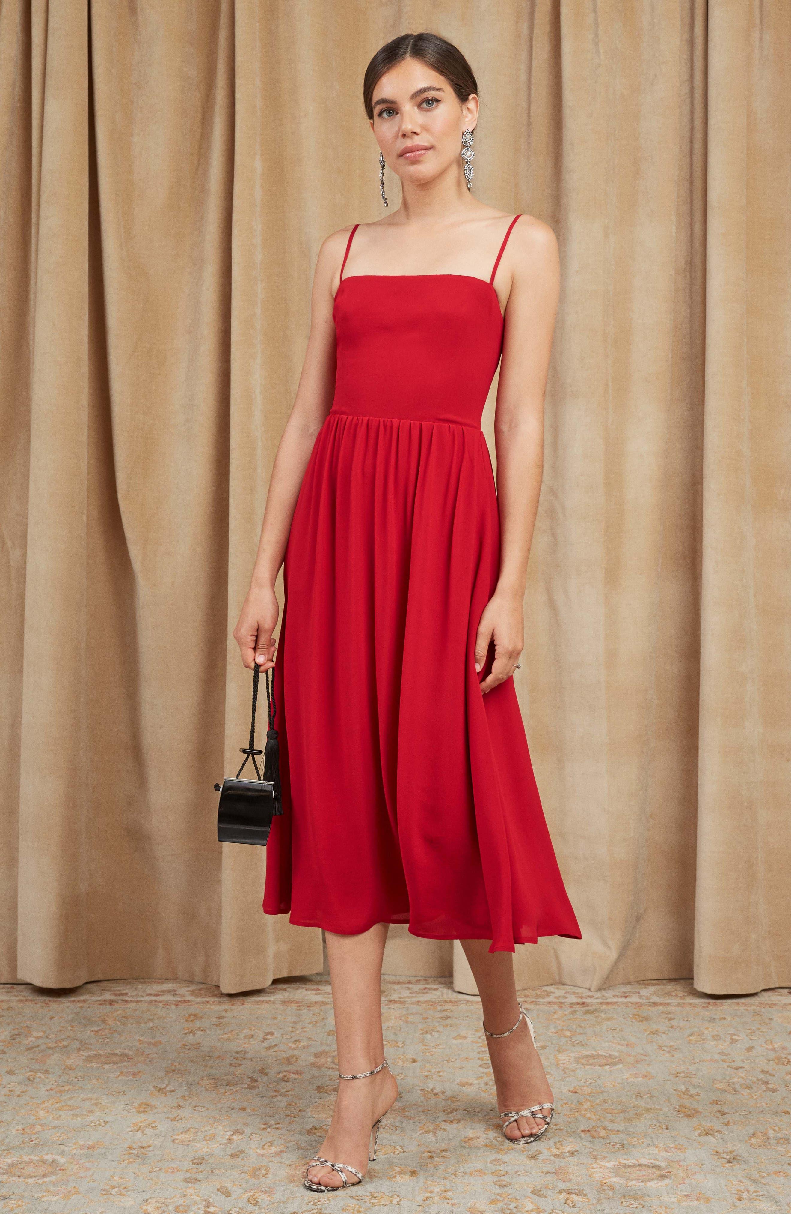 Rosehip Fit & Flare Dress,                             Alternate thumbnail 6, color,                             LIPSTICK