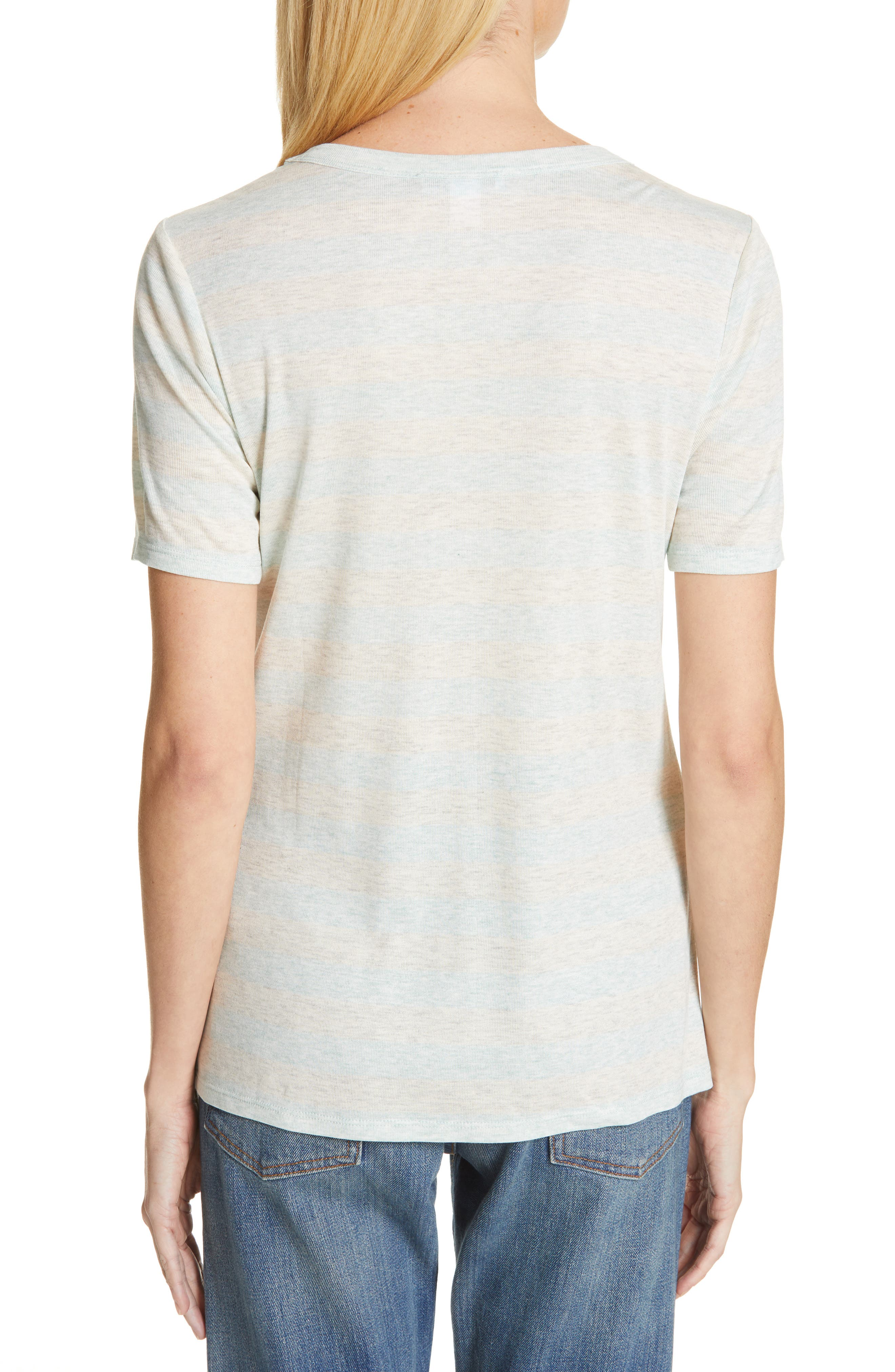 V-Neck Tee,                             Alternate thumbnail 2, color,                             GREY- BLUE EVEN STRIPE