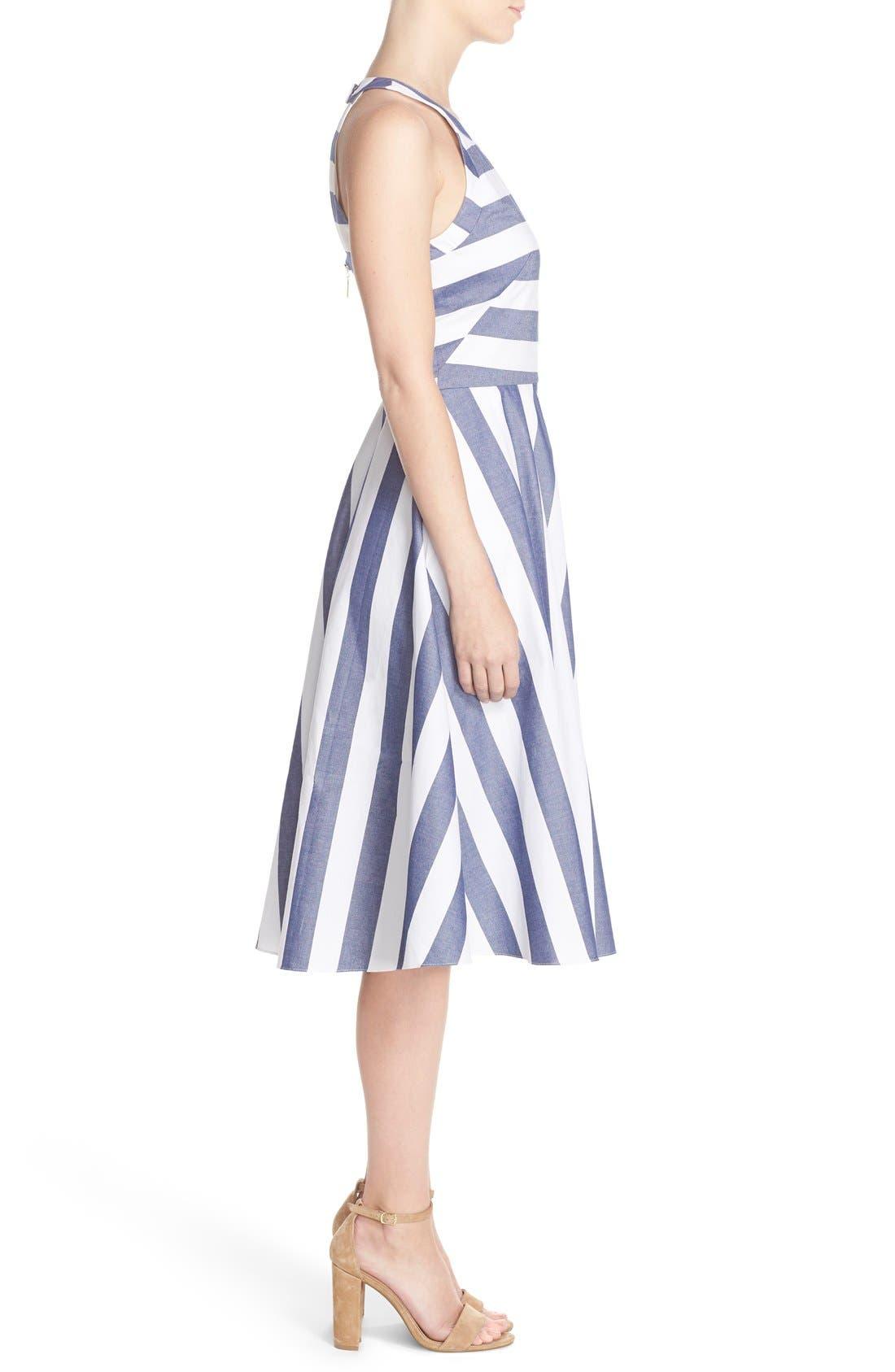 Cotton Fit & Flare Dress,                             Alternate thumbnail 5, color,                             BLUE/ IVORY