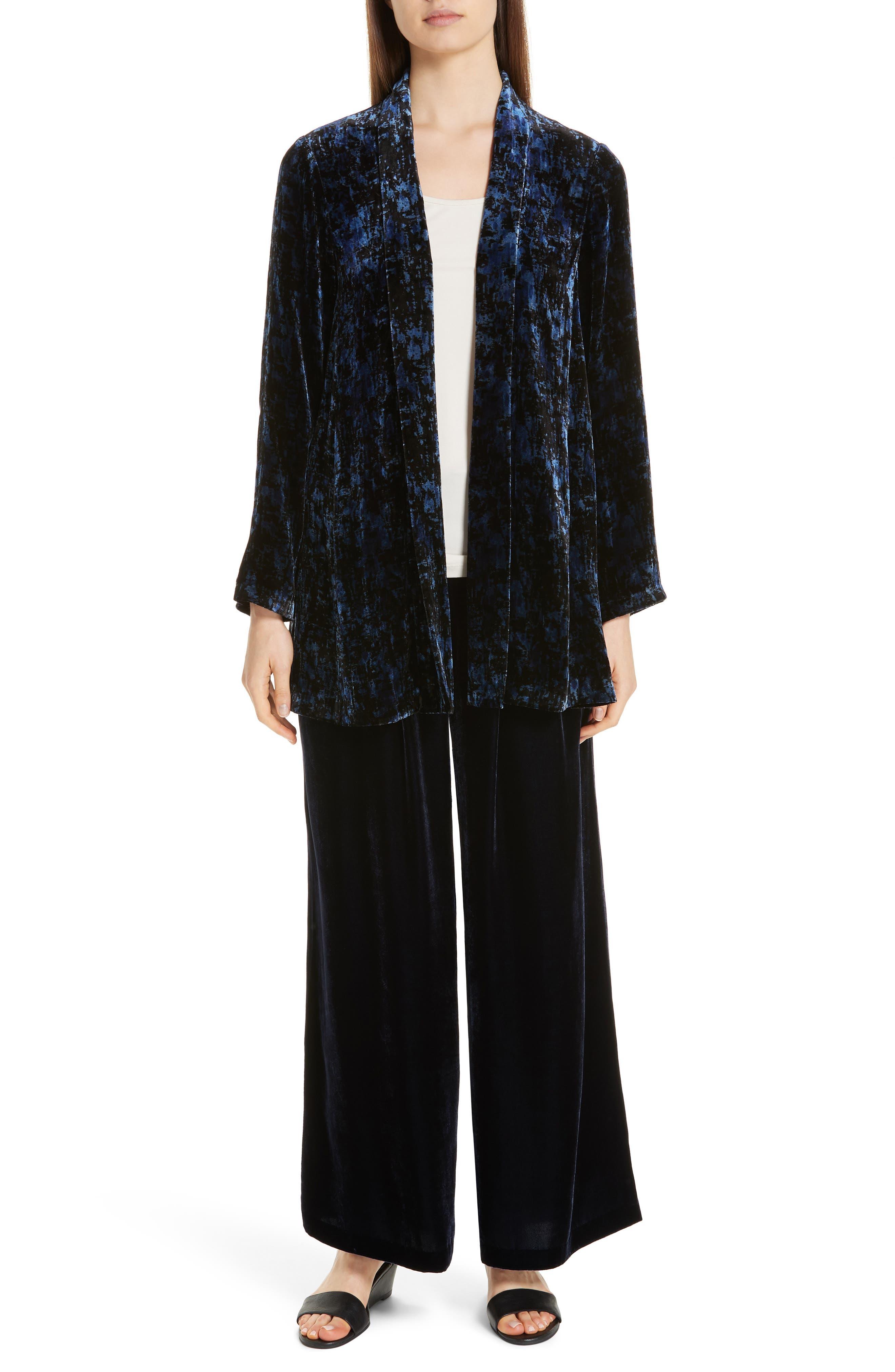 Shawl Collar Velvet Jacket,                             Alternate thumbnail 8, color,                             MIDNIGHT