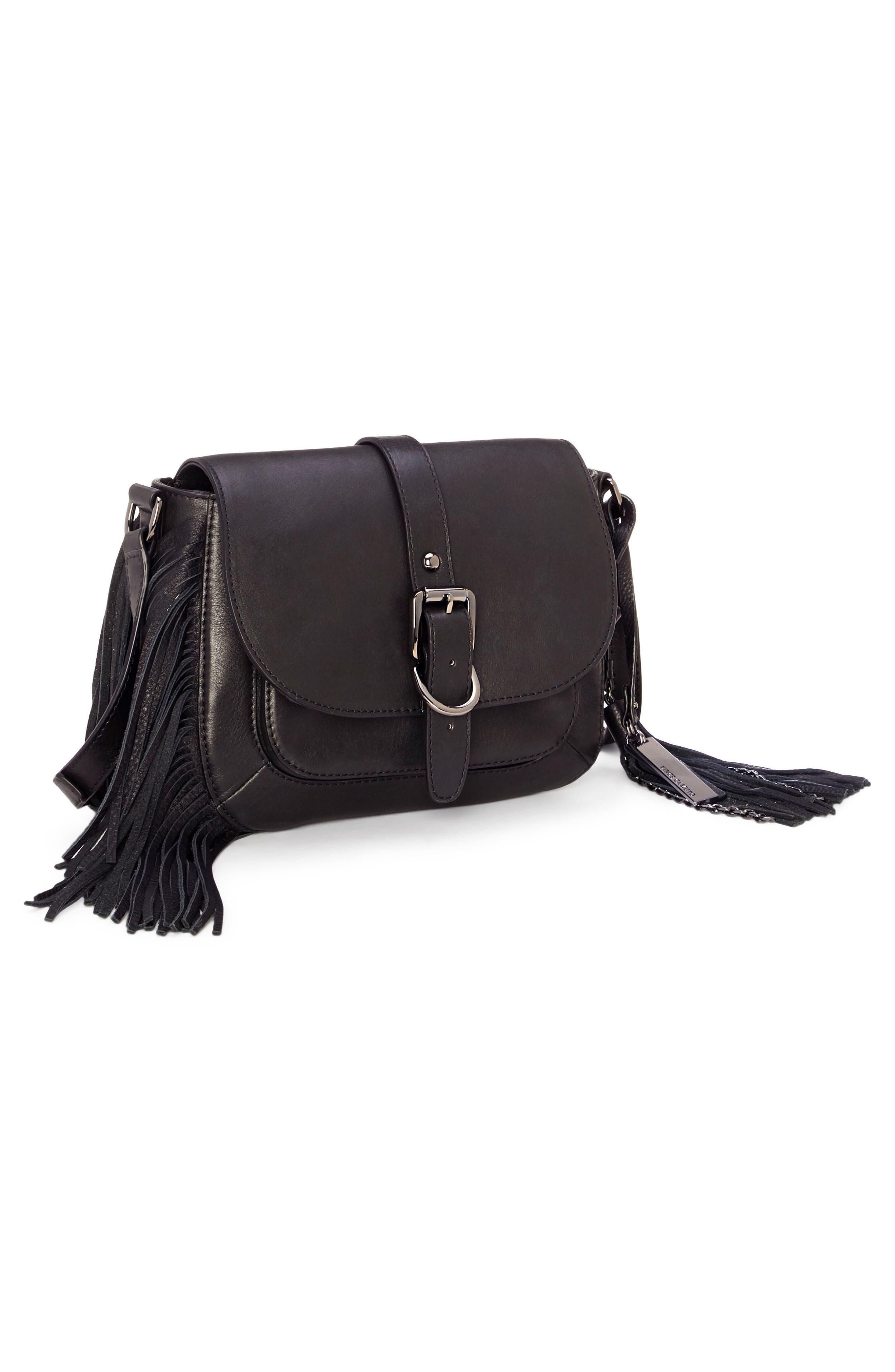 Hil Leather Crossbody Bag,                             Alternate thumbnail 4, color,                             002