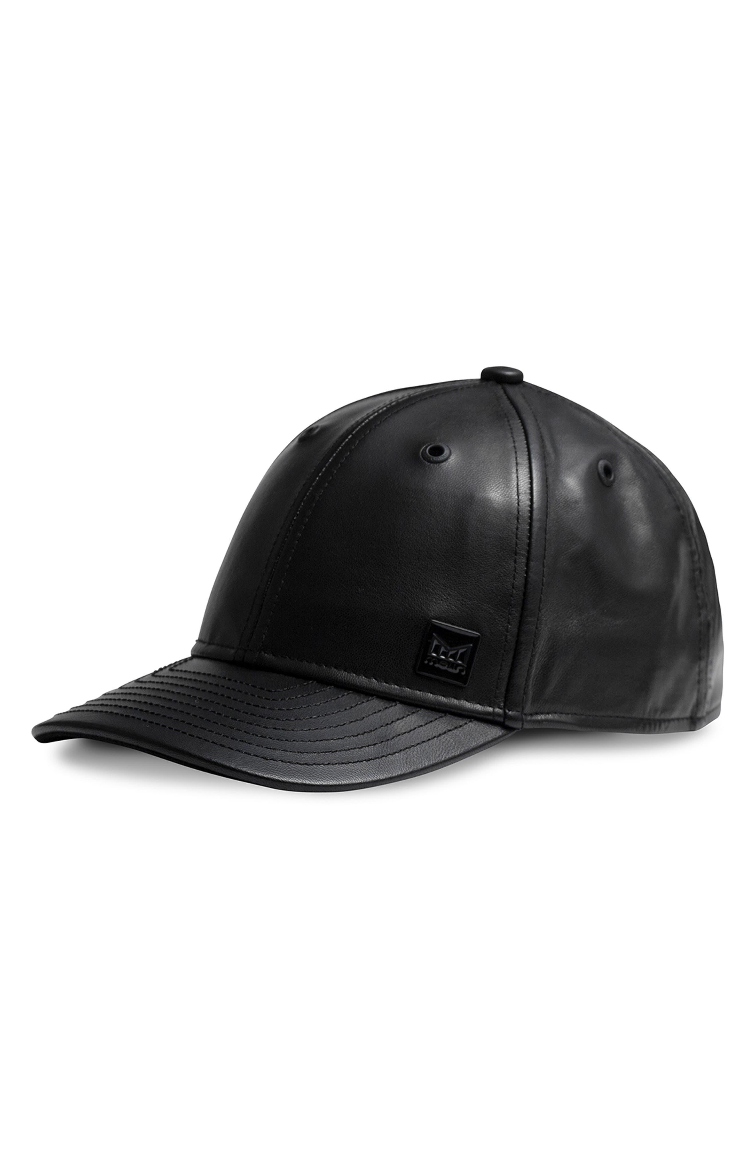 Voyage Elite Leather Ball Cap,                         Main,                         color, BLACK
