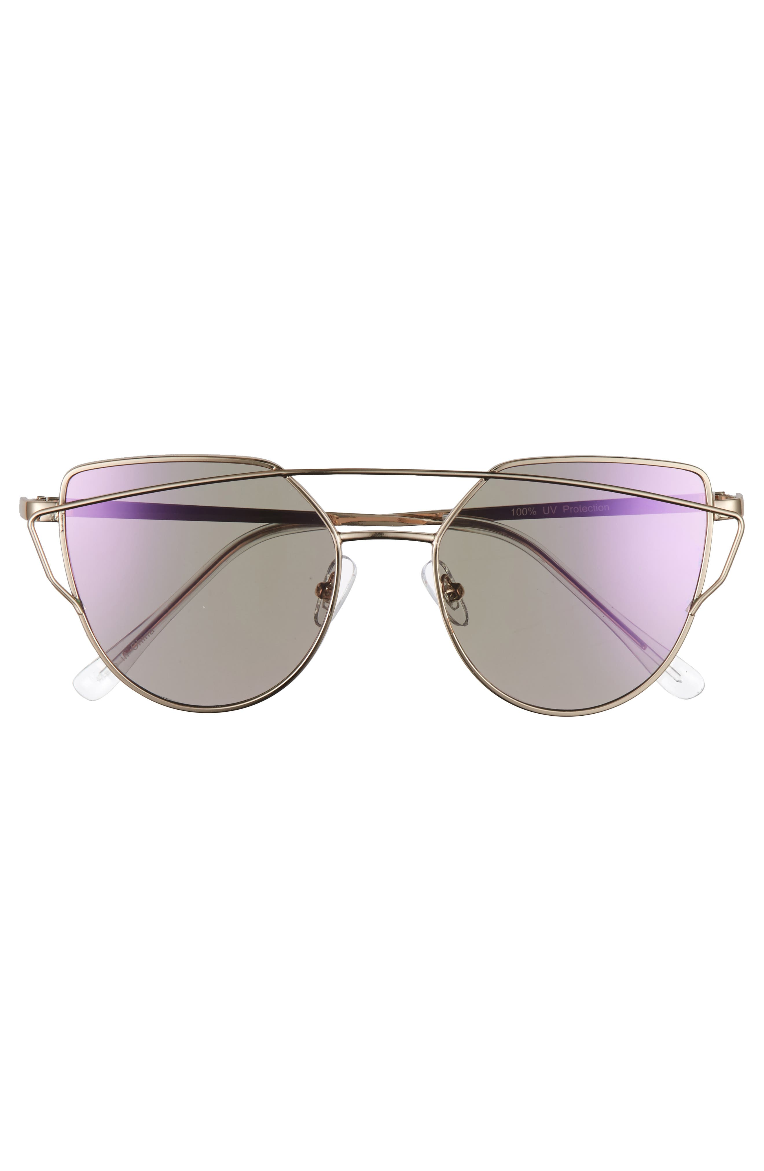 51mm Thin Brow Angular Aviator Sunglasses,                             Alternate thumbnail 22, color,