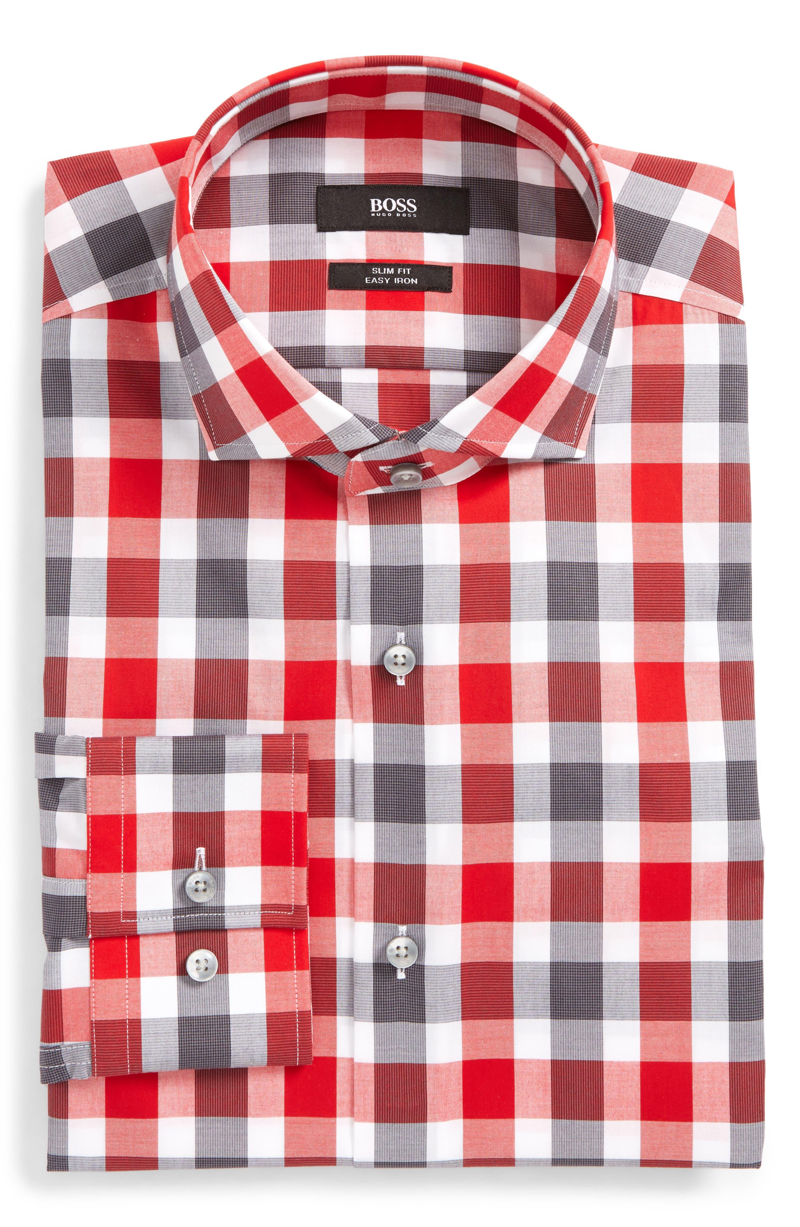 Jason Slim Fit Easy Iron Plaid Dress Shirt,                             Main thumbnail 2, color,