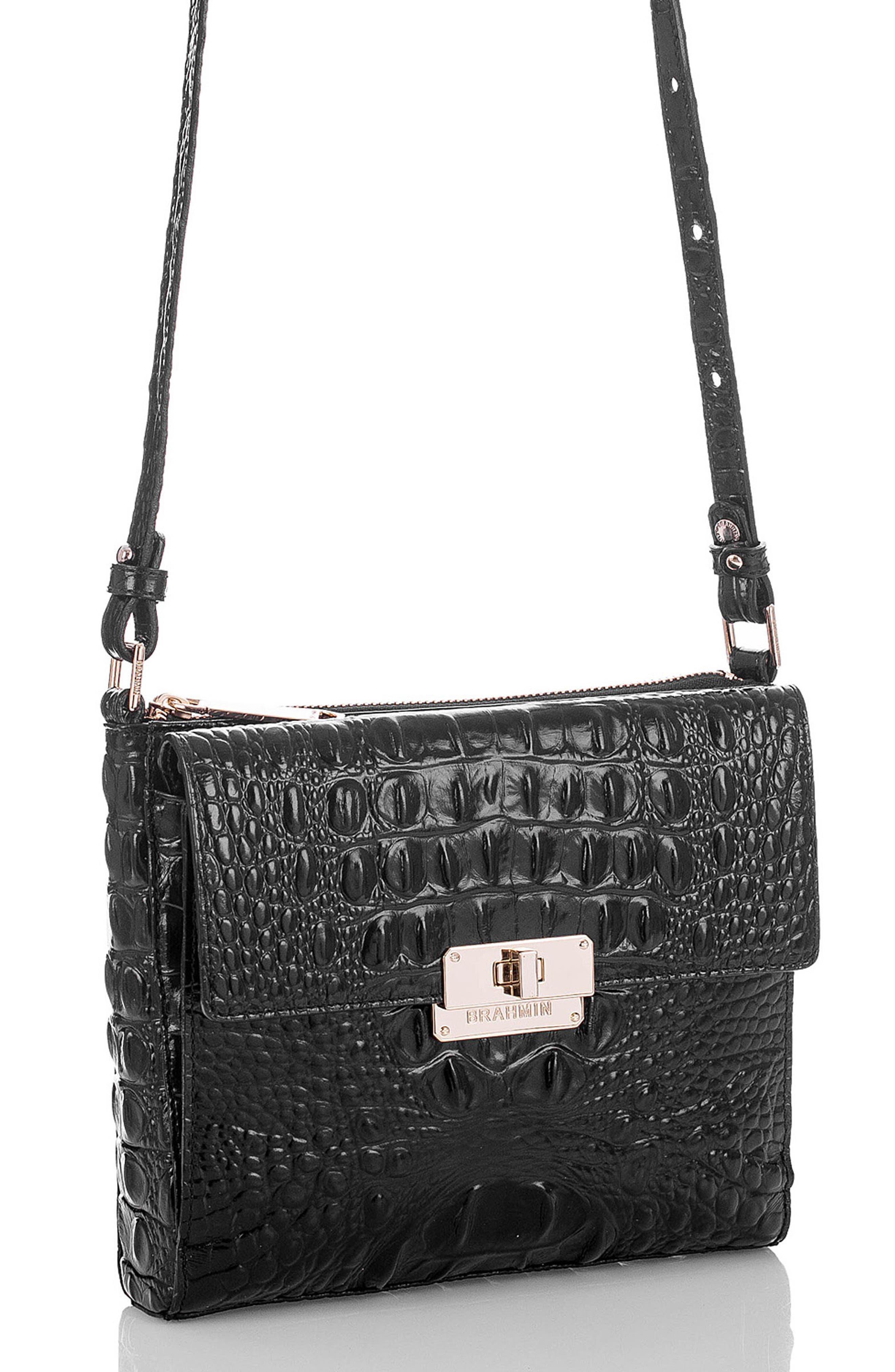Melbourne Manhattan Croc Embossed Leather Crossbody Bag,                             Alternate thumbnail 7, color,                             BLACK