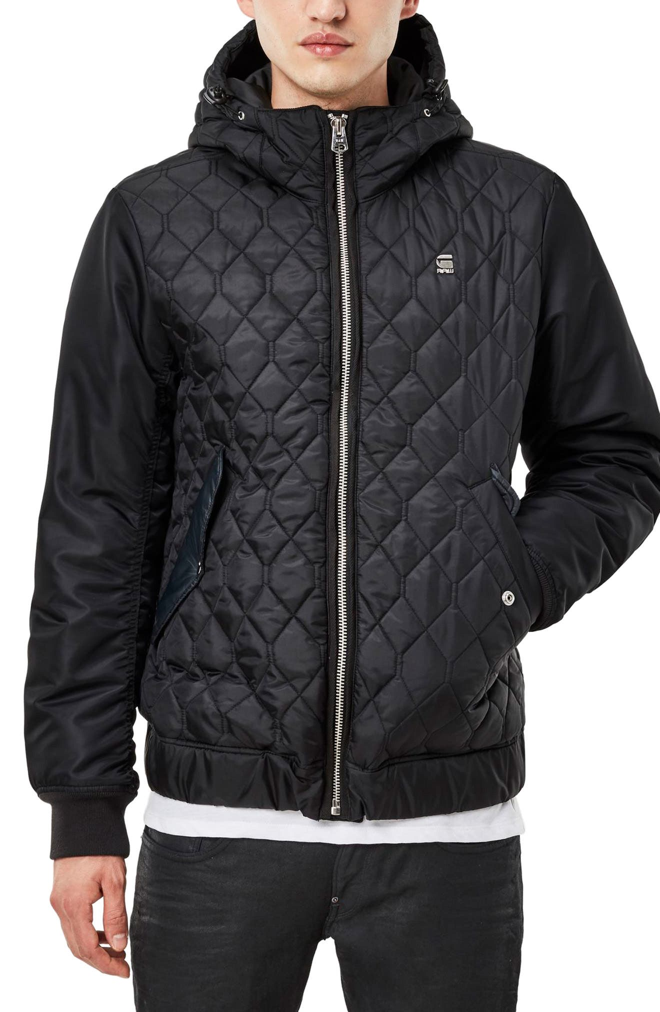 G-STAR RAW,                             Meefic Hybrid Quilted Jacket,                             Main thumbnail 1, color,                             001