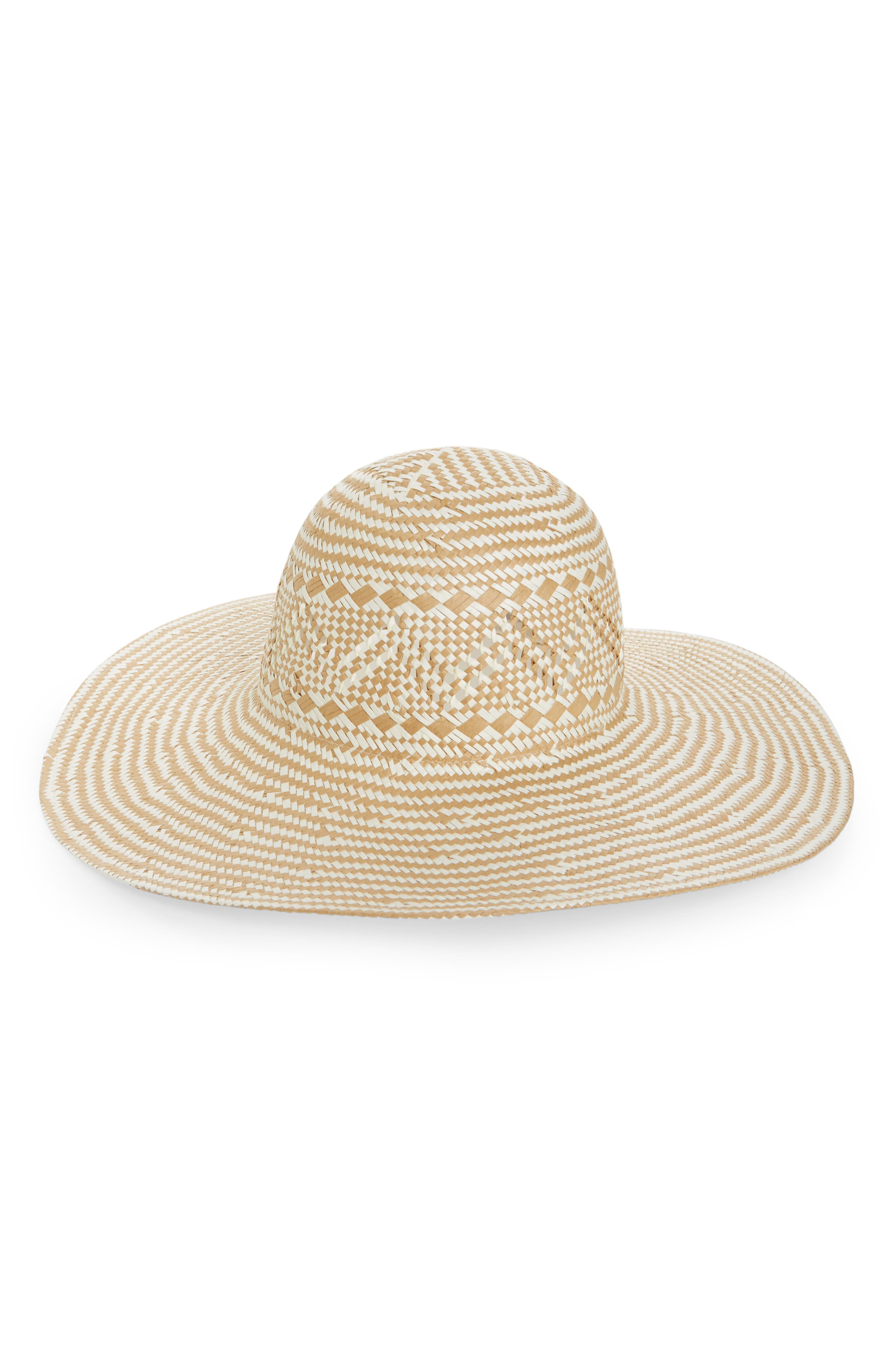Two-Tone Floppy Straw Hat,                             Main thumbnail 2, color,