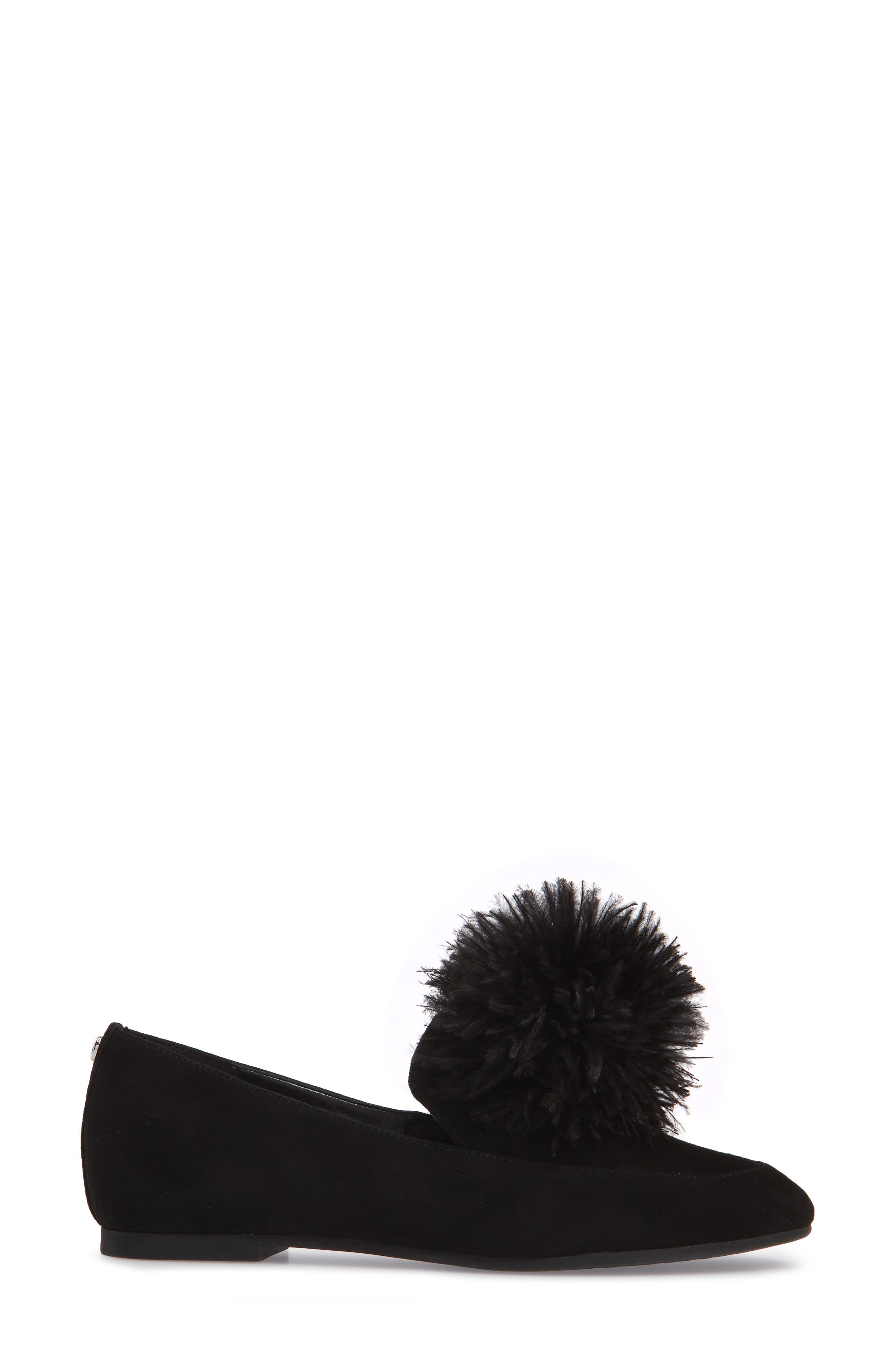 Fara Feather Pom Loafer,                             Alternate thumbnail 3, color,                             001