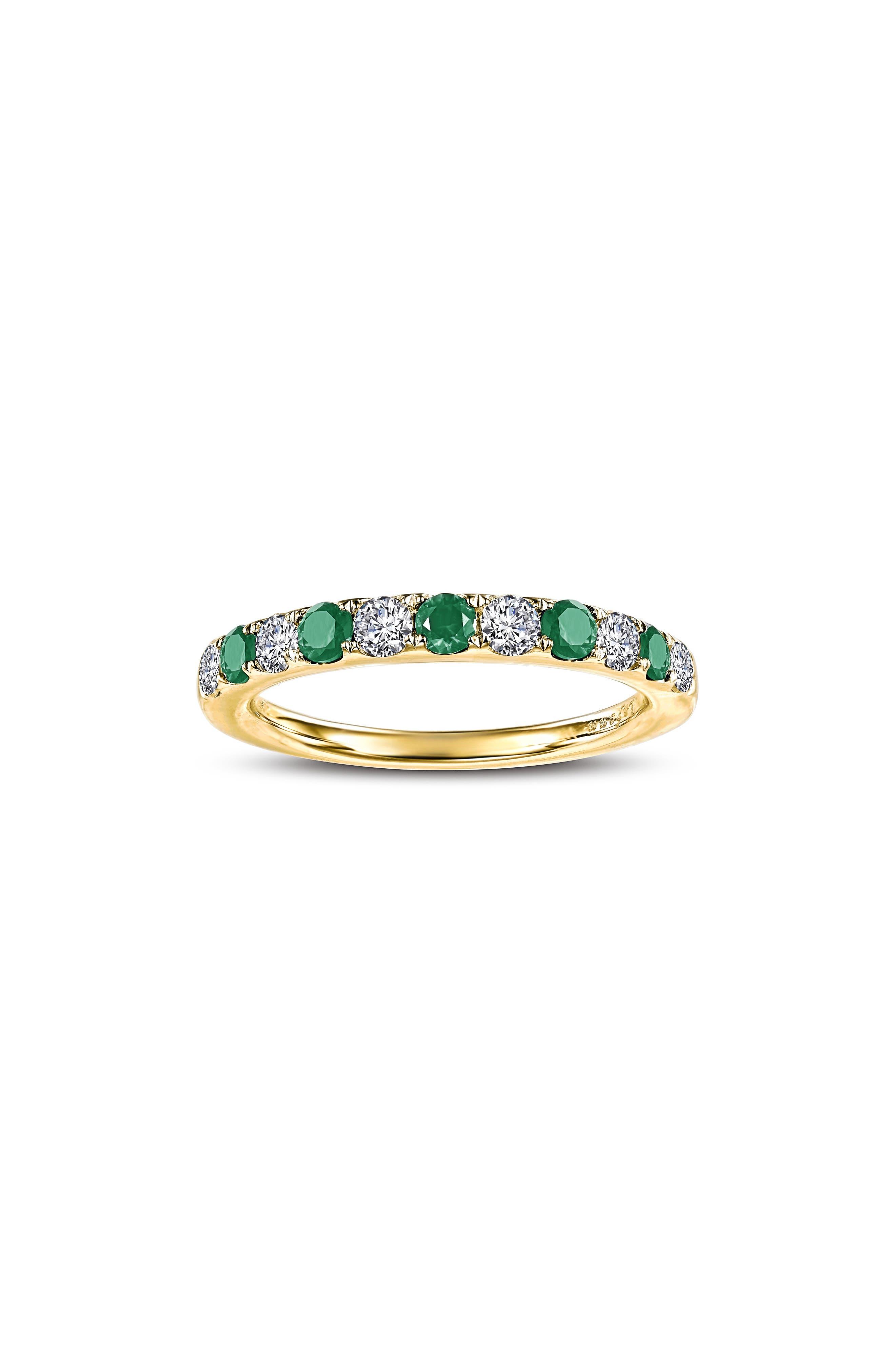 Simulated Diamond Birthstone Band Ring,                         Main,                         color, MAY - GREEN/ GOLD